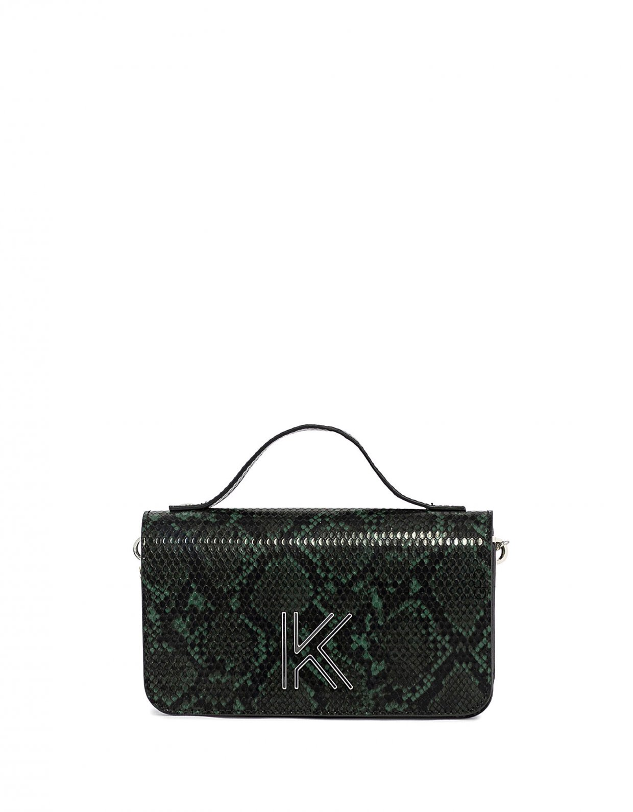 Kendall + Kylie Ida crossbody green snake