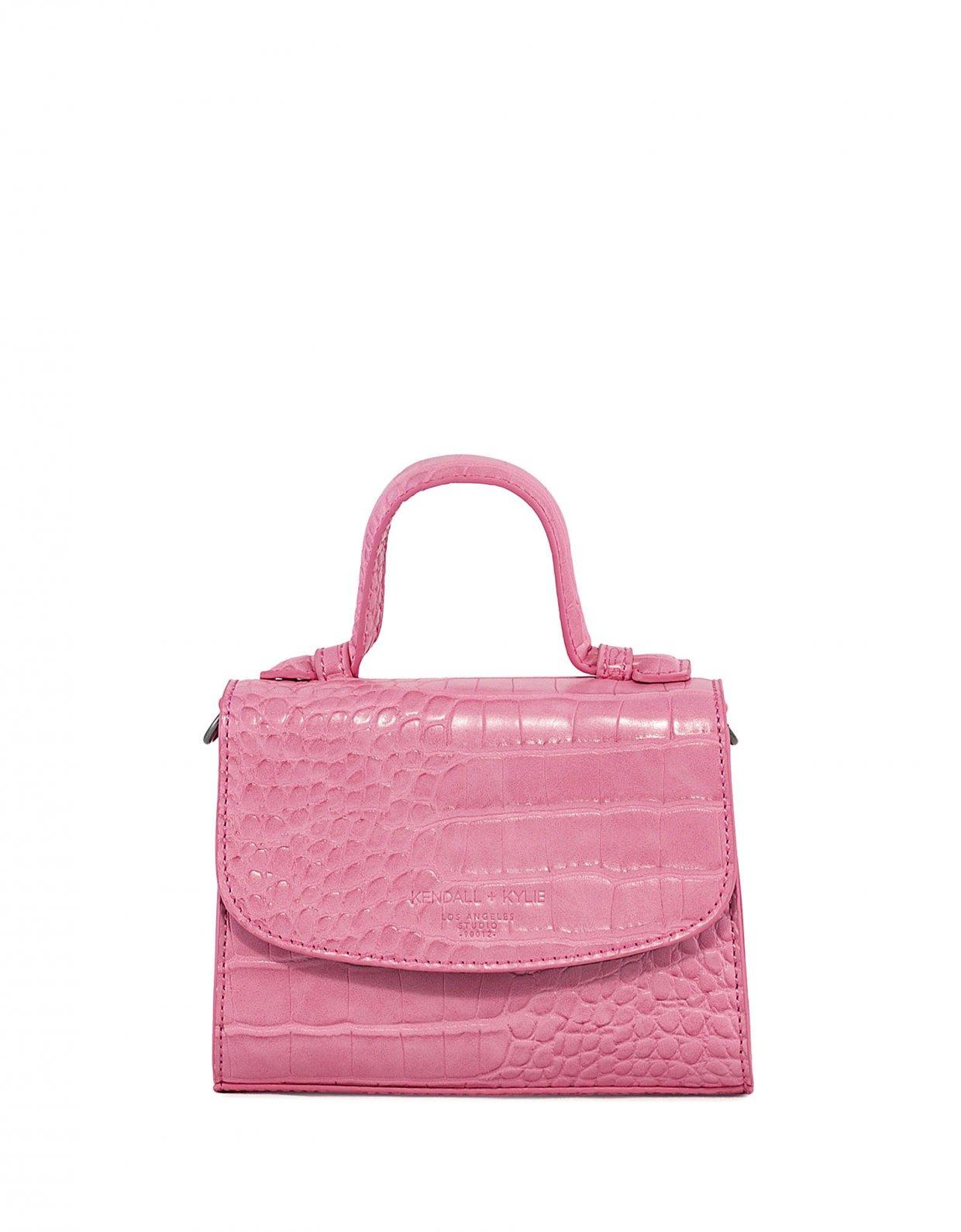 Kendall + Kylie Bae mini crossbody pink croco