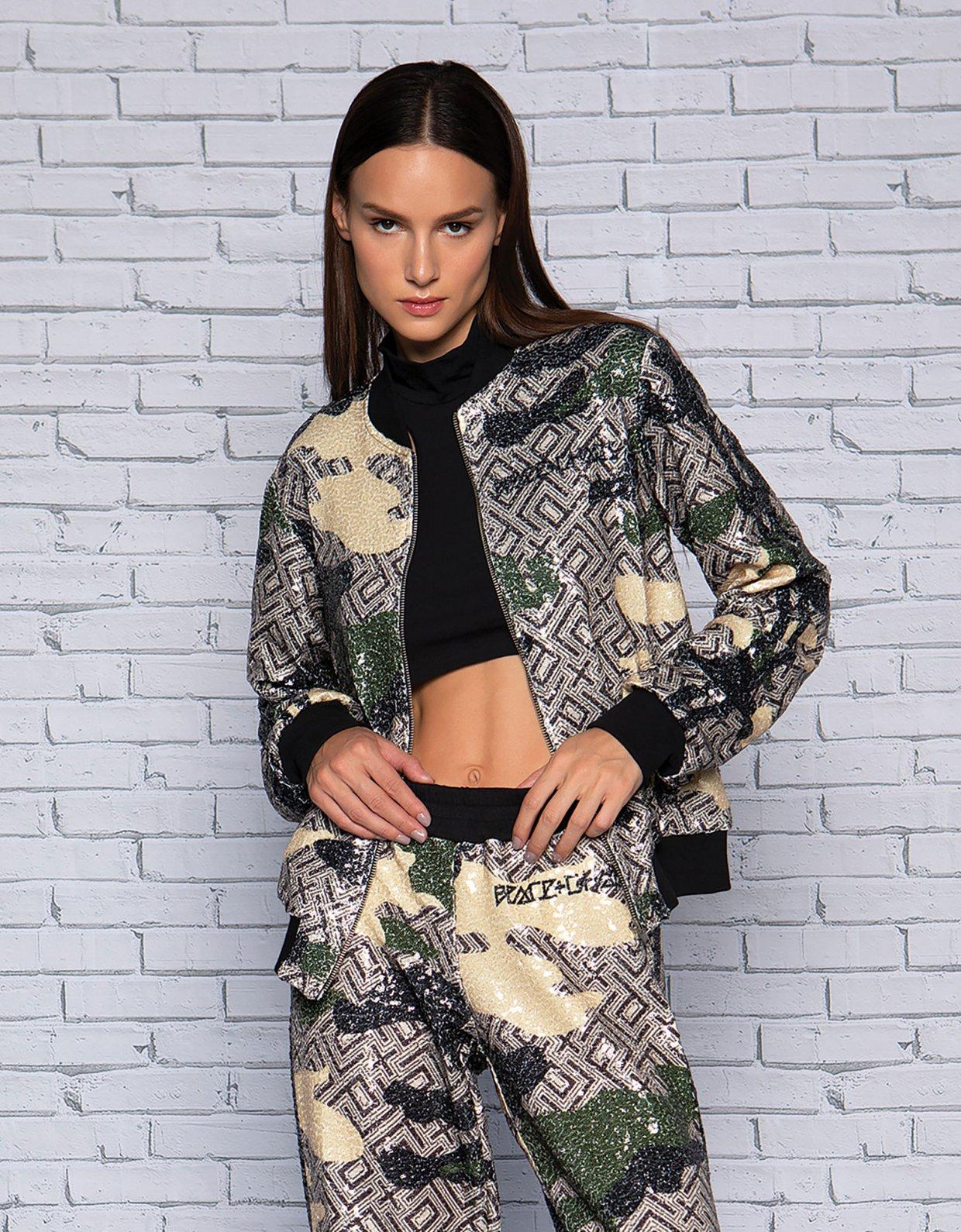 Peace & Chaos Camo motif sequin jacket