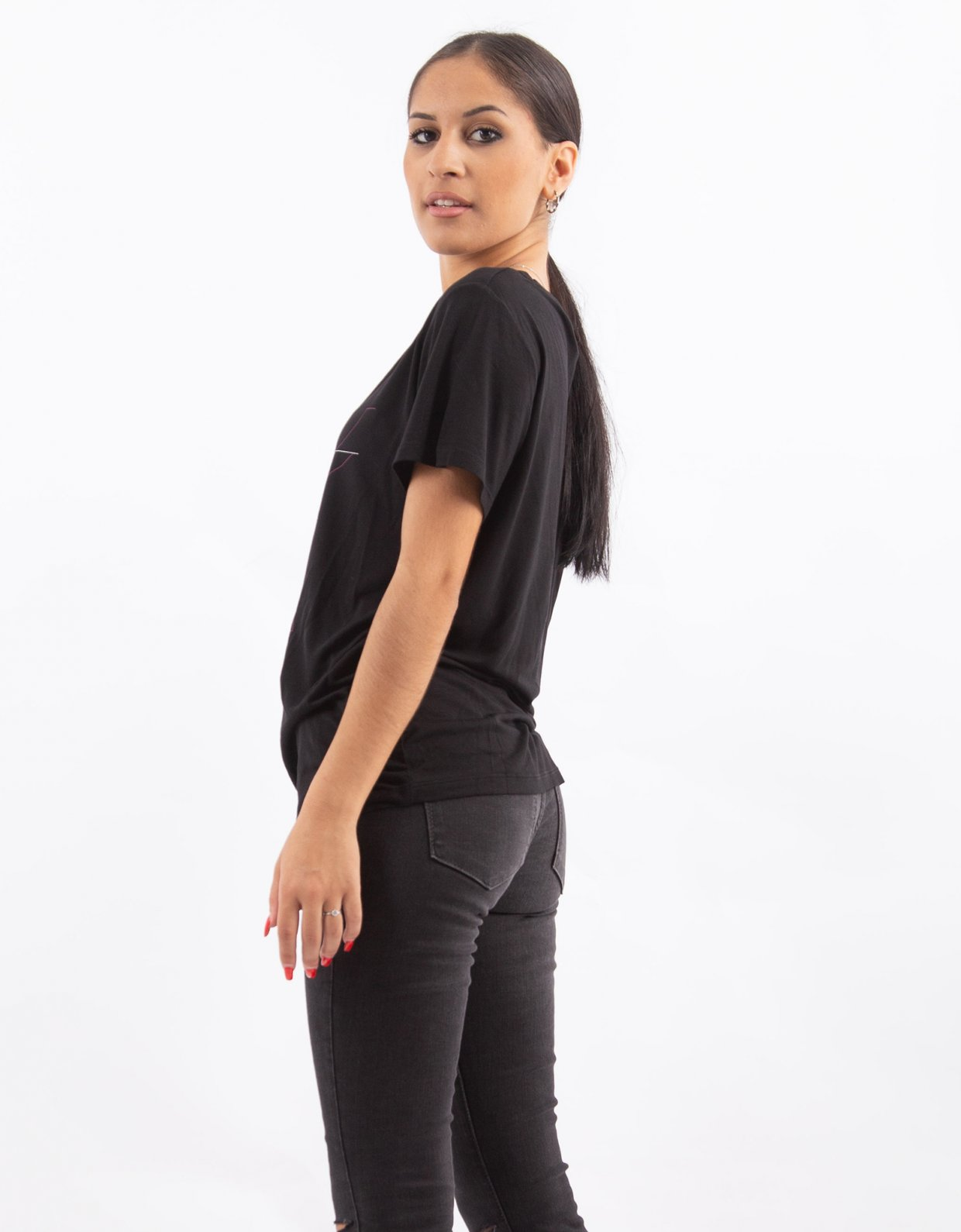 NA-KD Black printed viscose tee