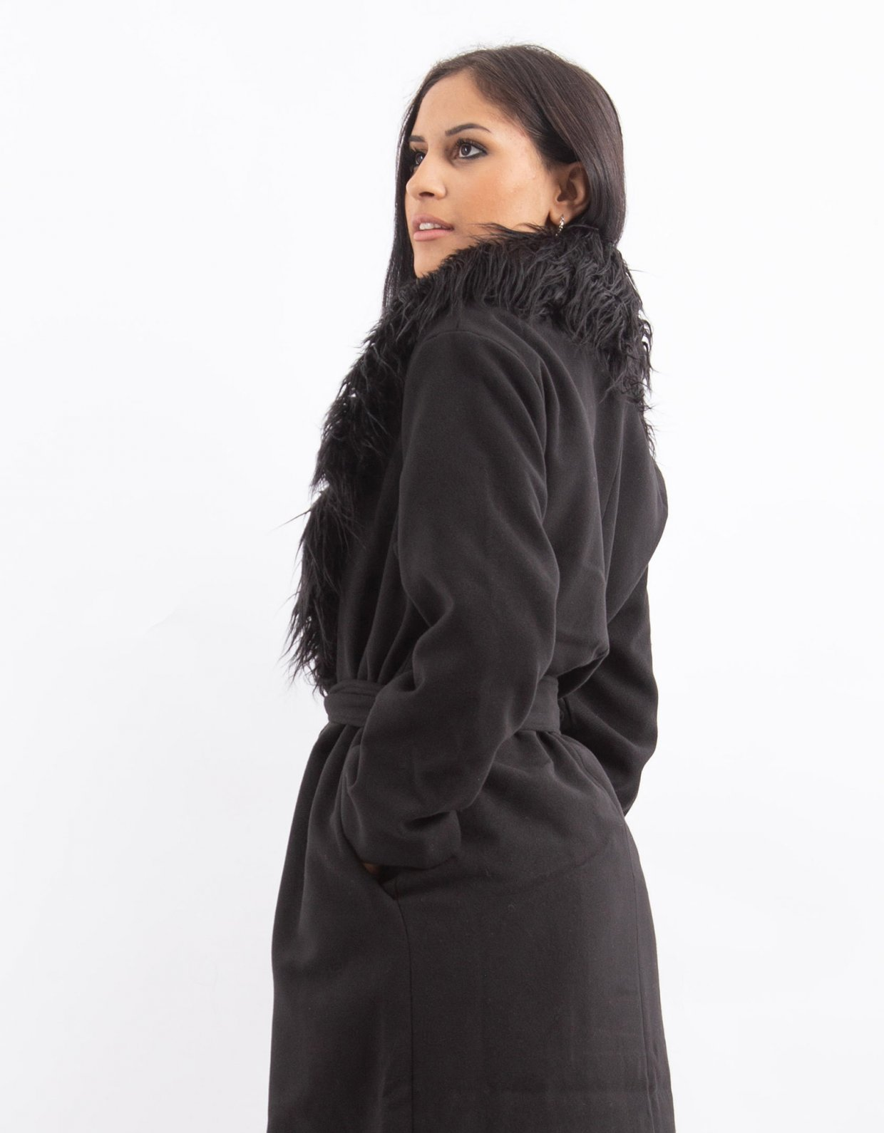 NA-KD Black faux fur collar coat