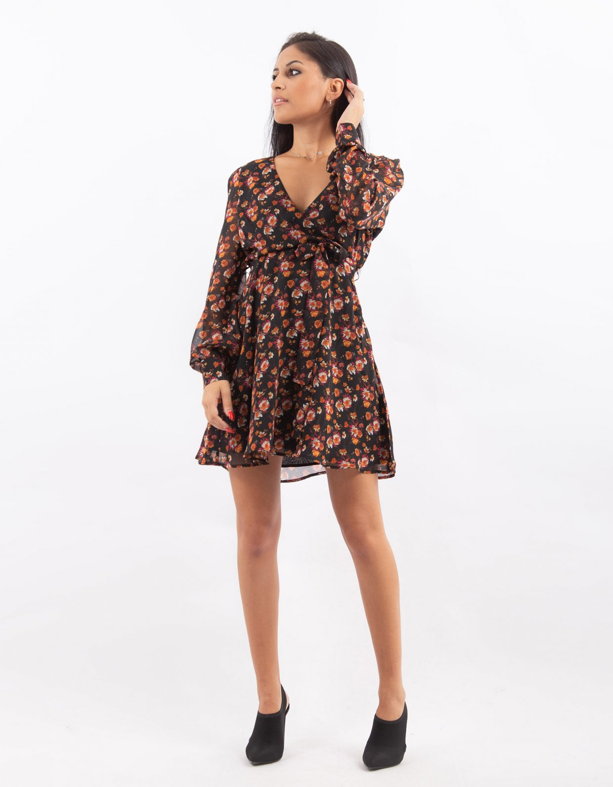 NA-KD Black floral wrap dress