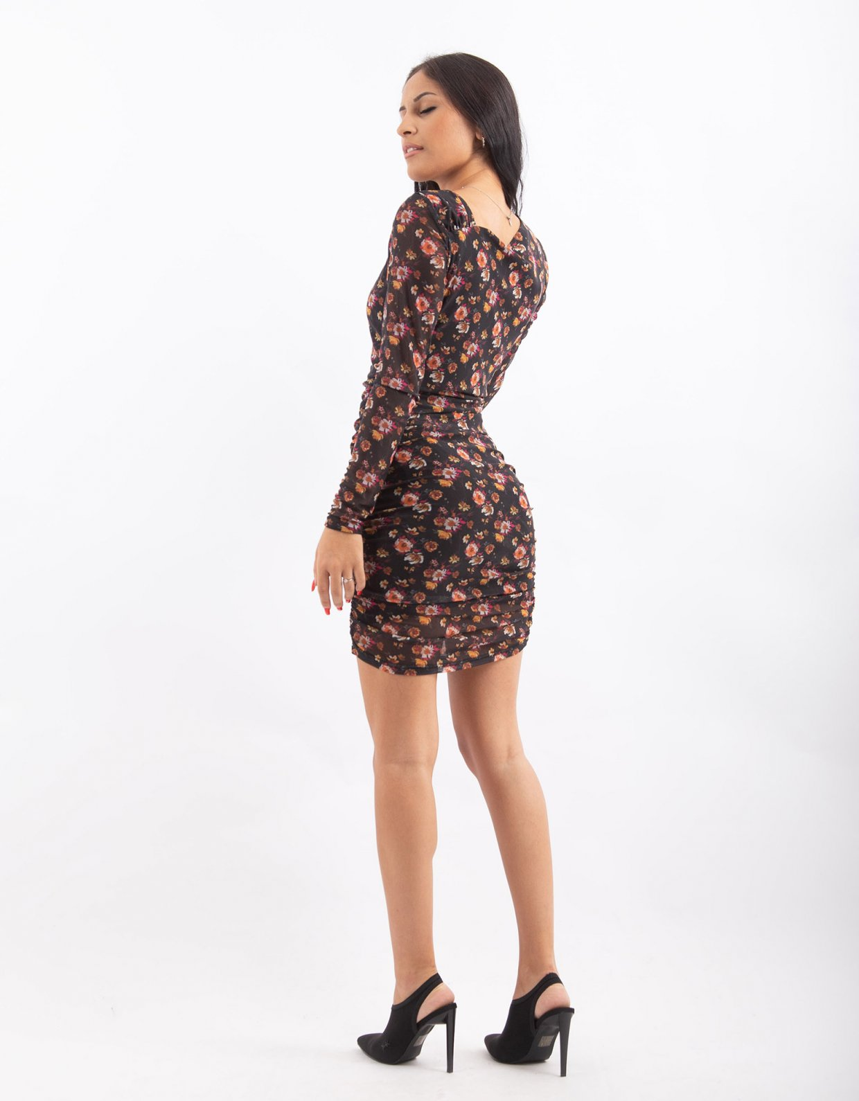 NA-KD Floral asymmetric neckline mesh dress