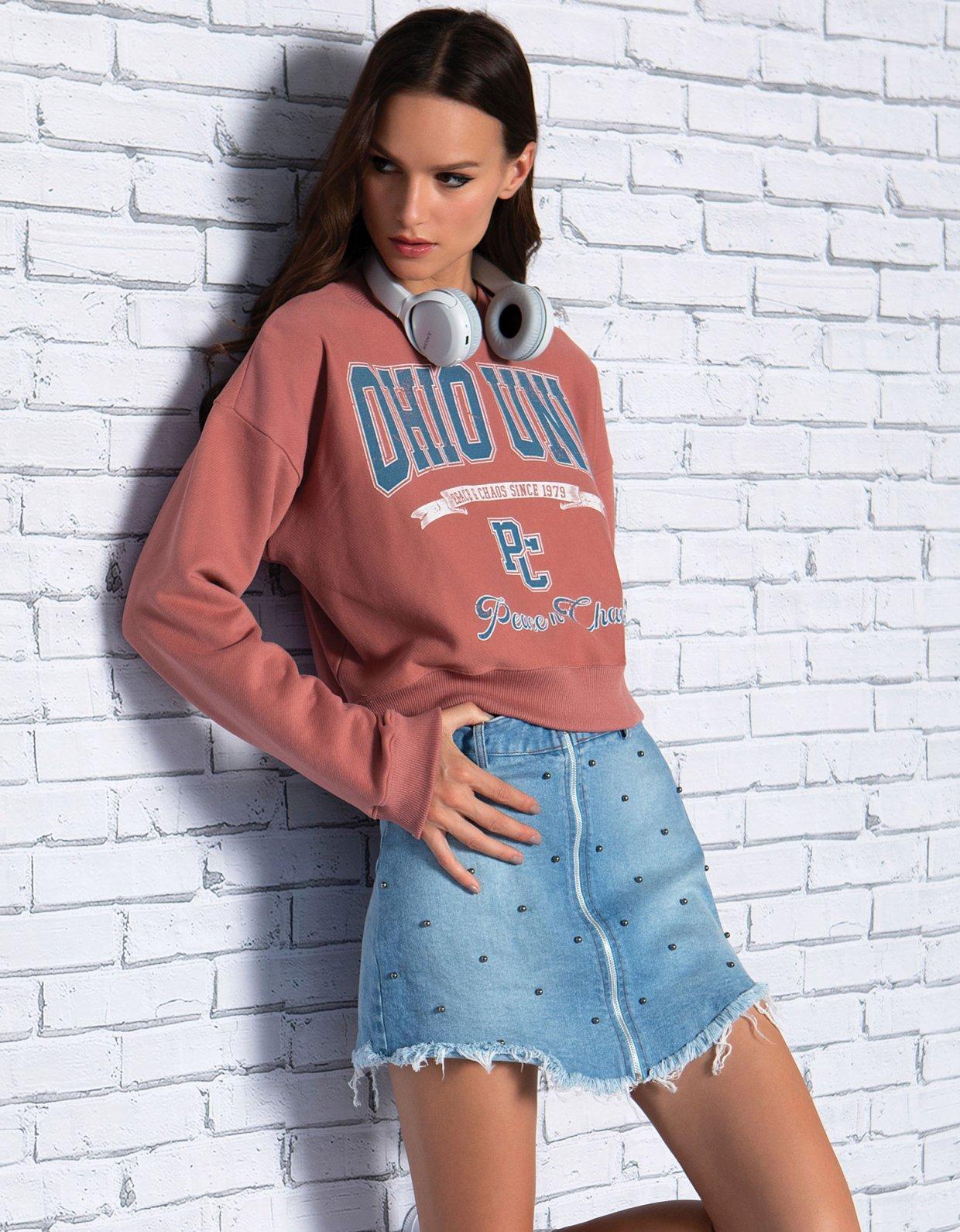 Peace & Chaos Studded denim skirt