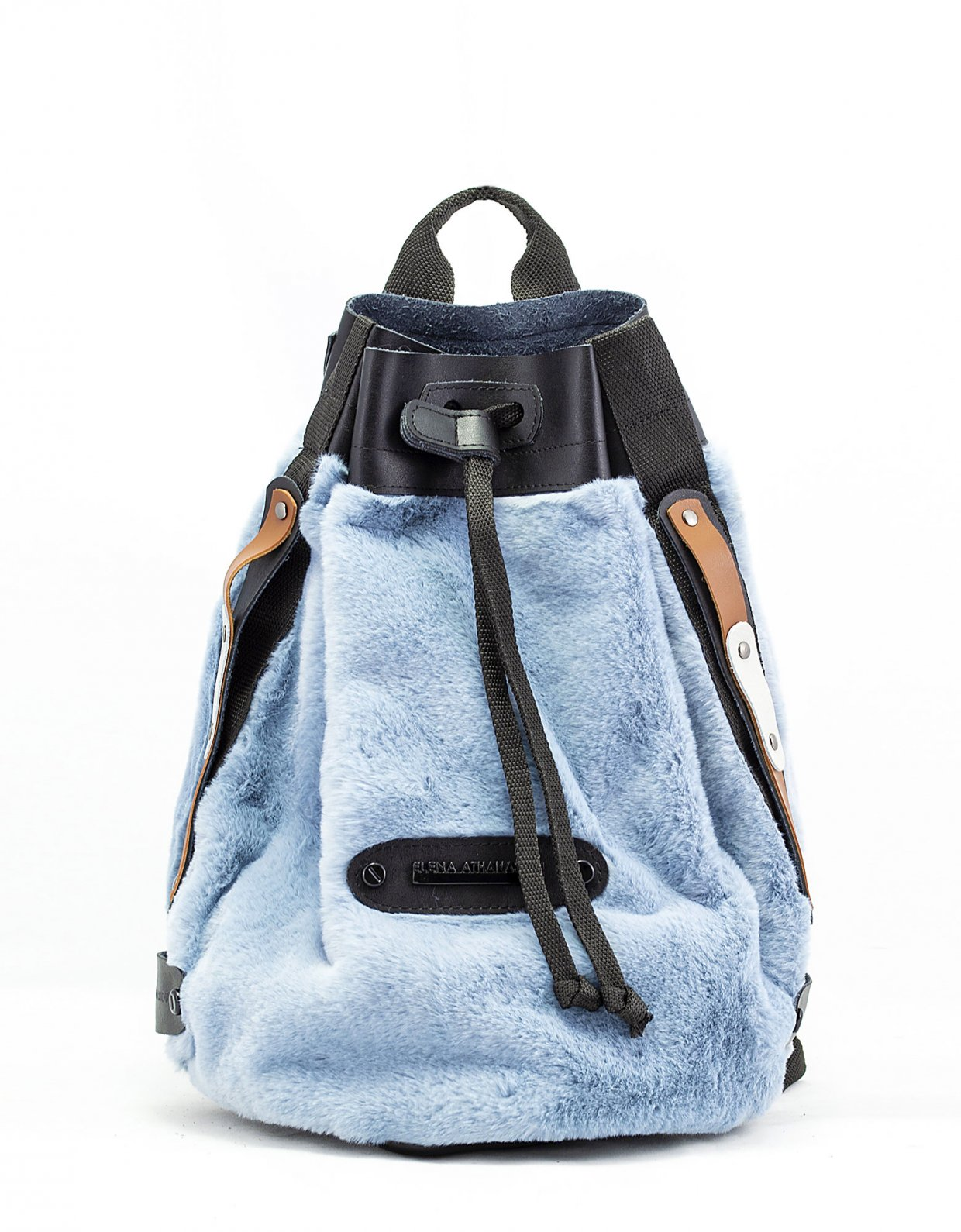 Elena Athanasiou Fluffy backpack baby blue
