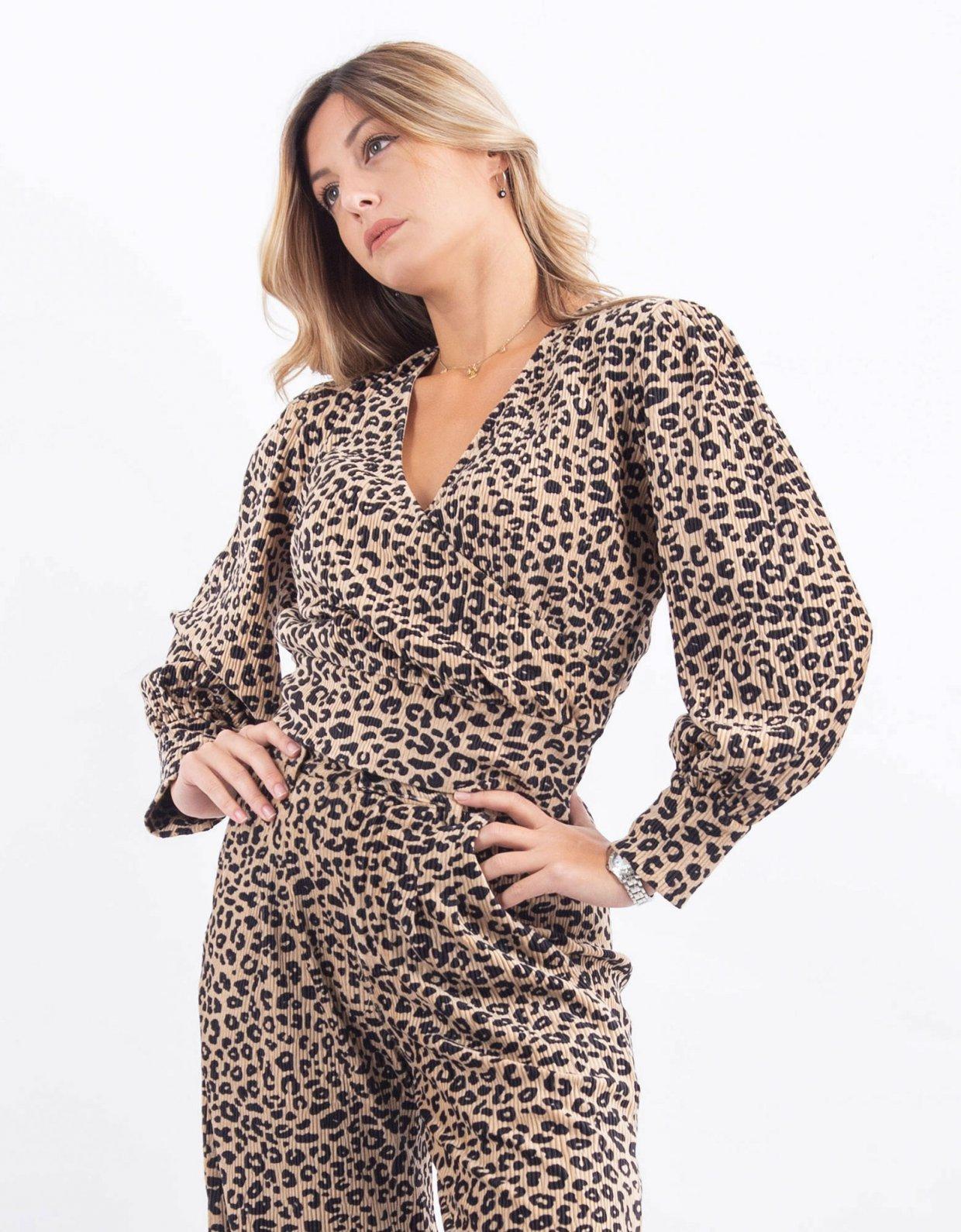 Kendall + Kylie Leopard wrap top