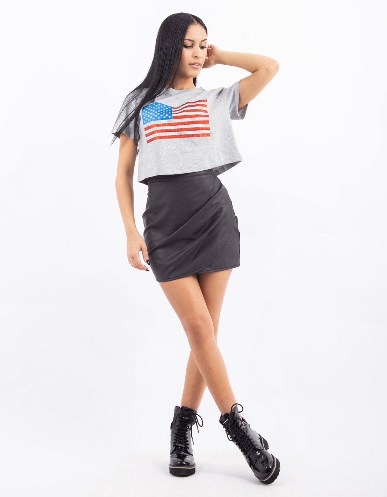 Kendall + Kylie Flag cropped tee