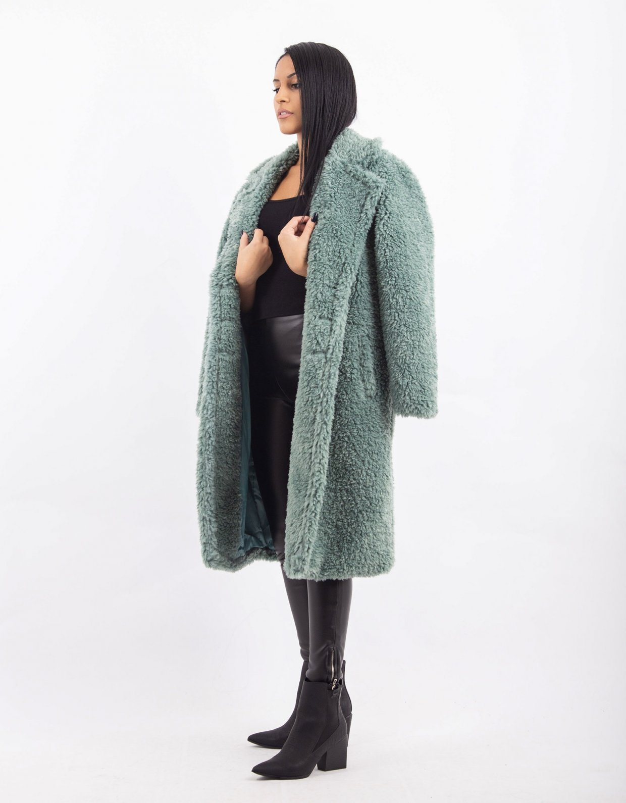 Kendall + Kylie Long Sherpa peacoat