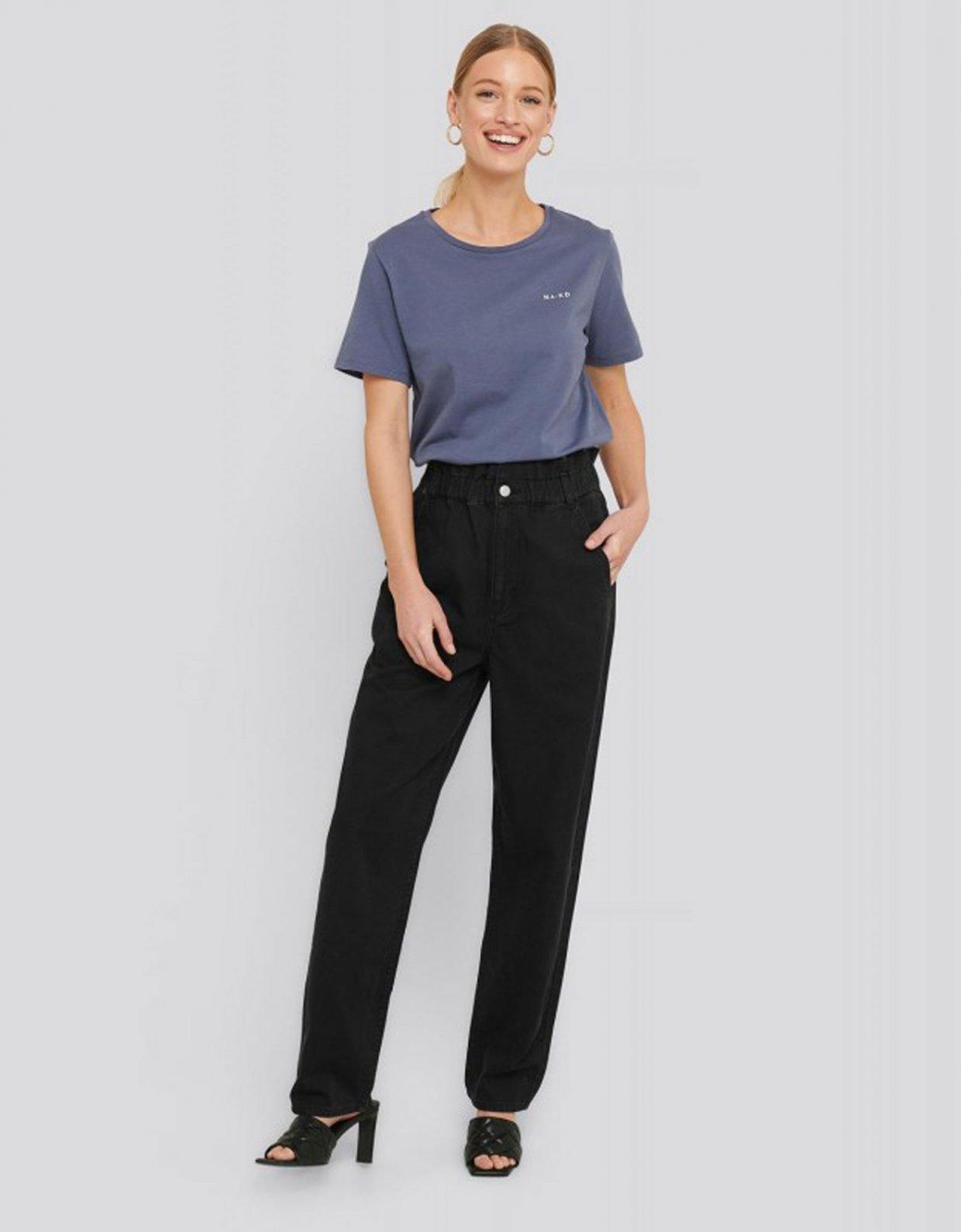 NA-KD Elastic waist baggy jeans black