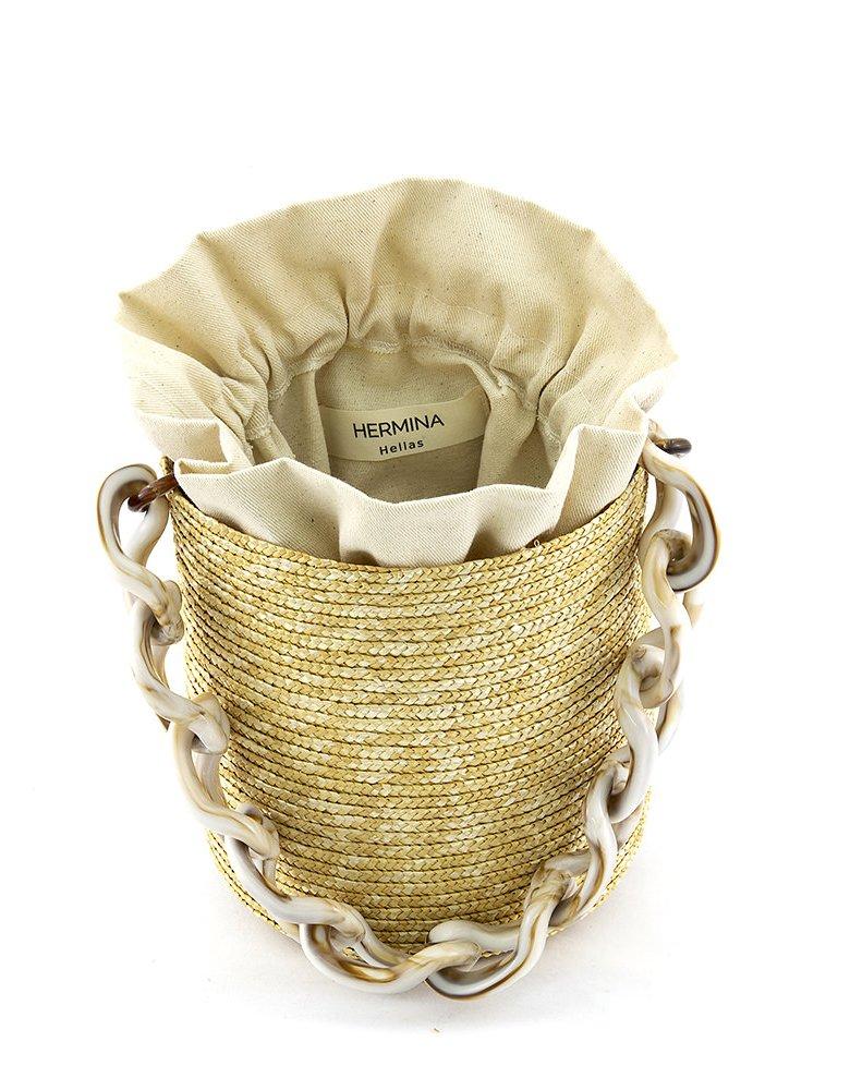 Hermina Raffia bucket - marble handle & beige pouch