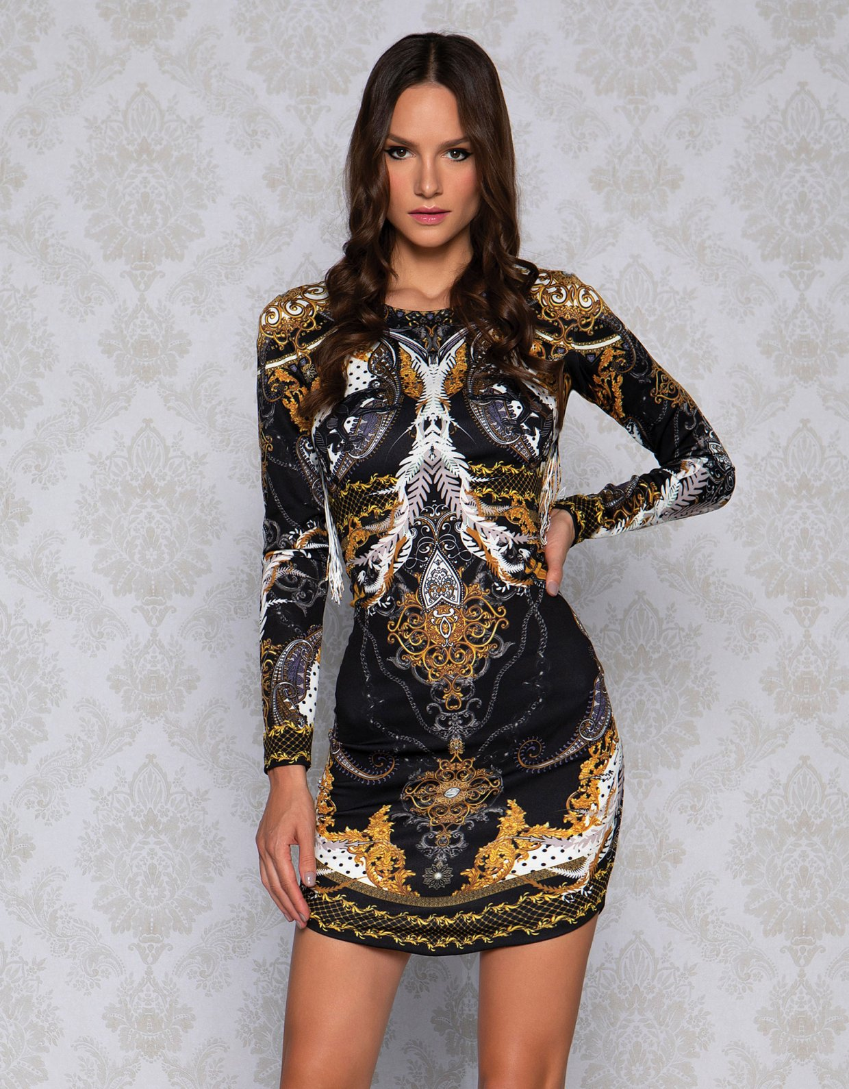 Peace & Chaos Panther baroque bodycon dress
