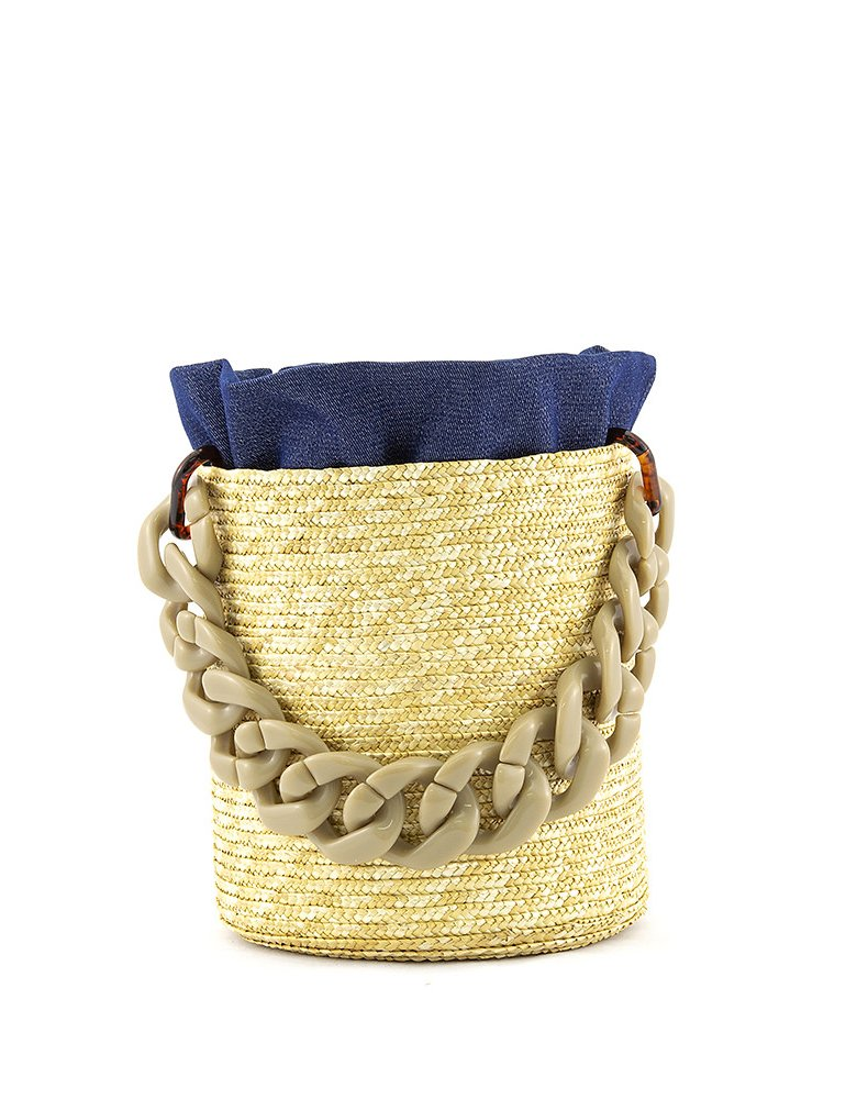 Hermina Raffia bucket - Denim pouch & beige handle