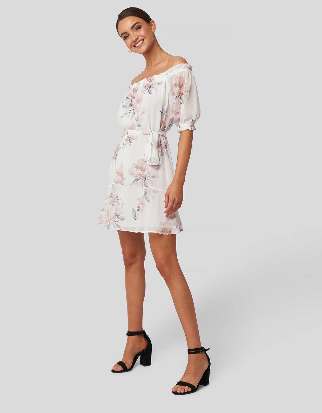 NA-KD White floral off shoulder dress