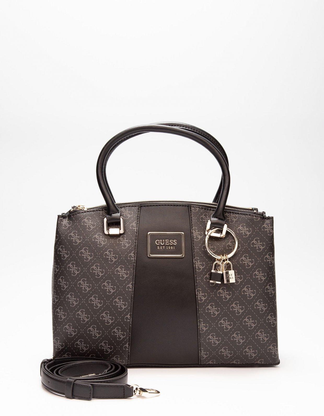 Guess Tyren status satchel handbag dark grey