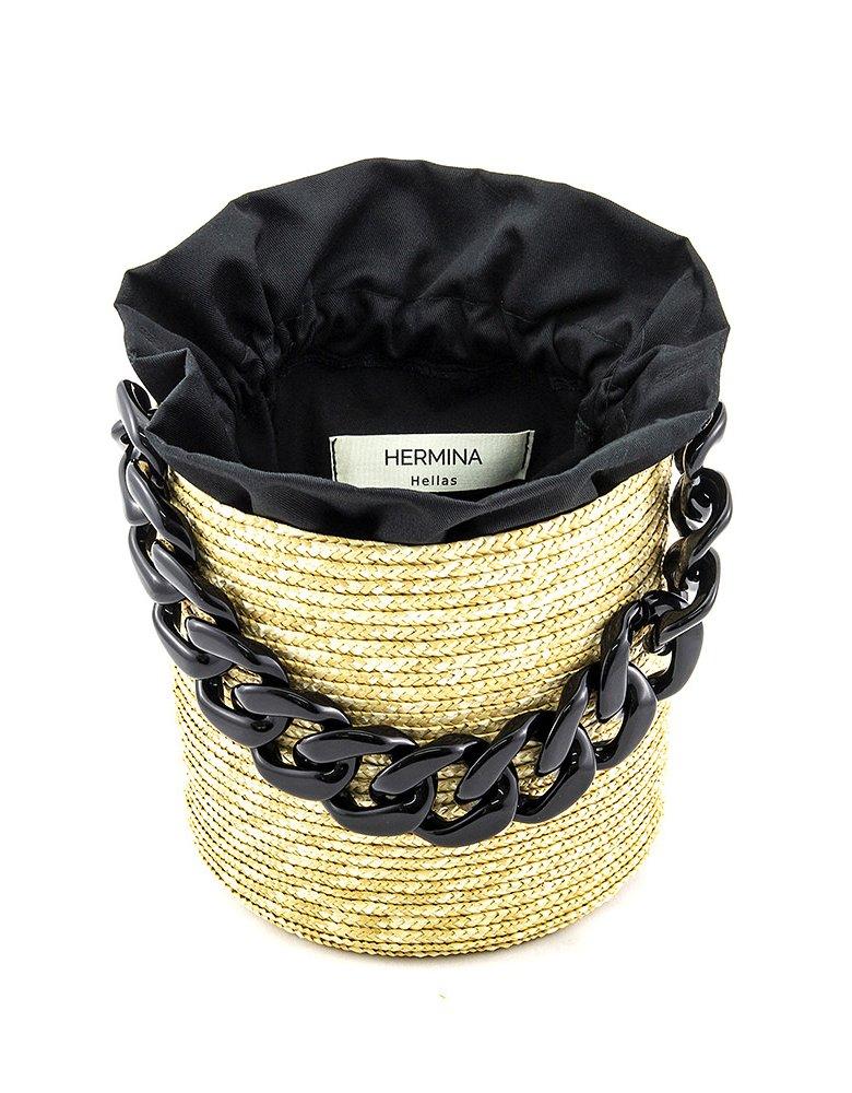 Hermina Raffia bucket - Black pouch & black handle