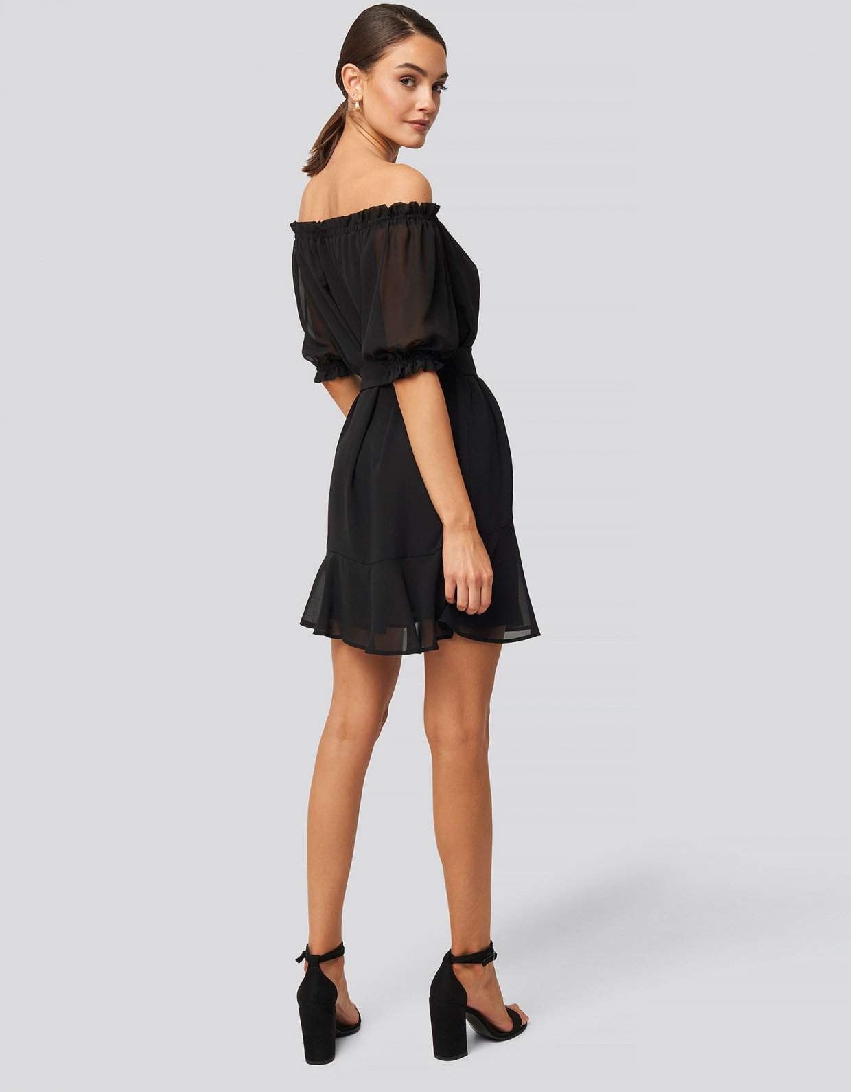 NA-KD Black off shoulder tie dress
