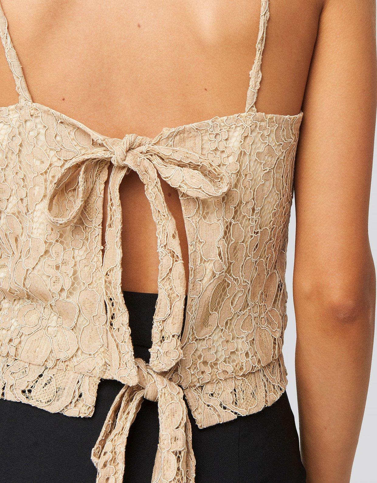 NA-KD Beige lace tie back singlet