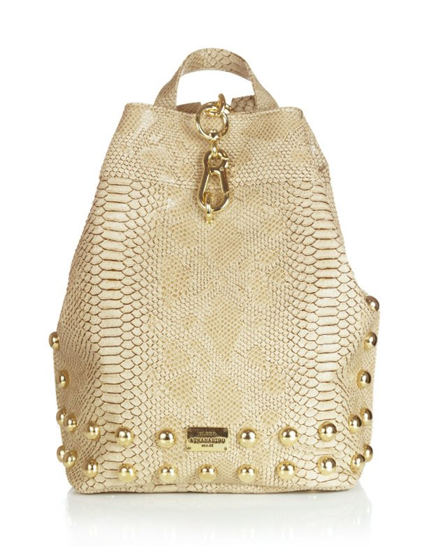 Elena Athanasiou Backpack Croco Pattern Beige
