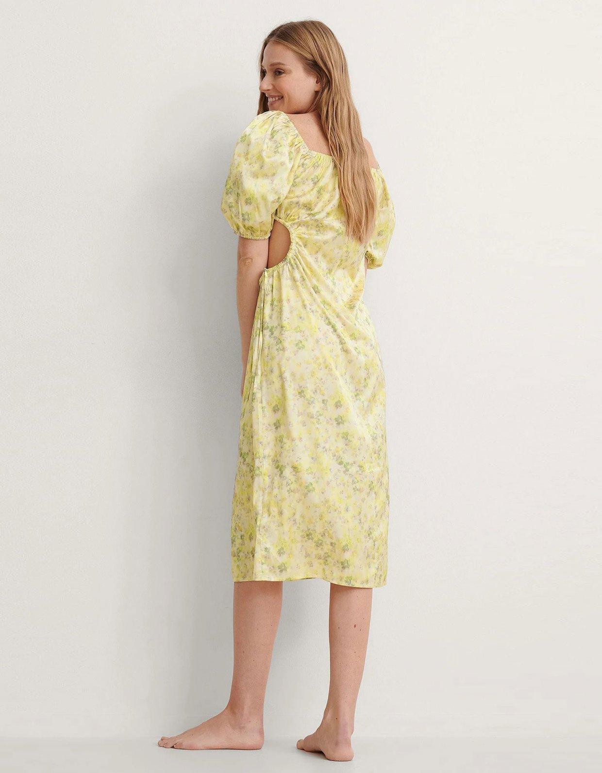 NA-KD Puff sleeve cut out dress