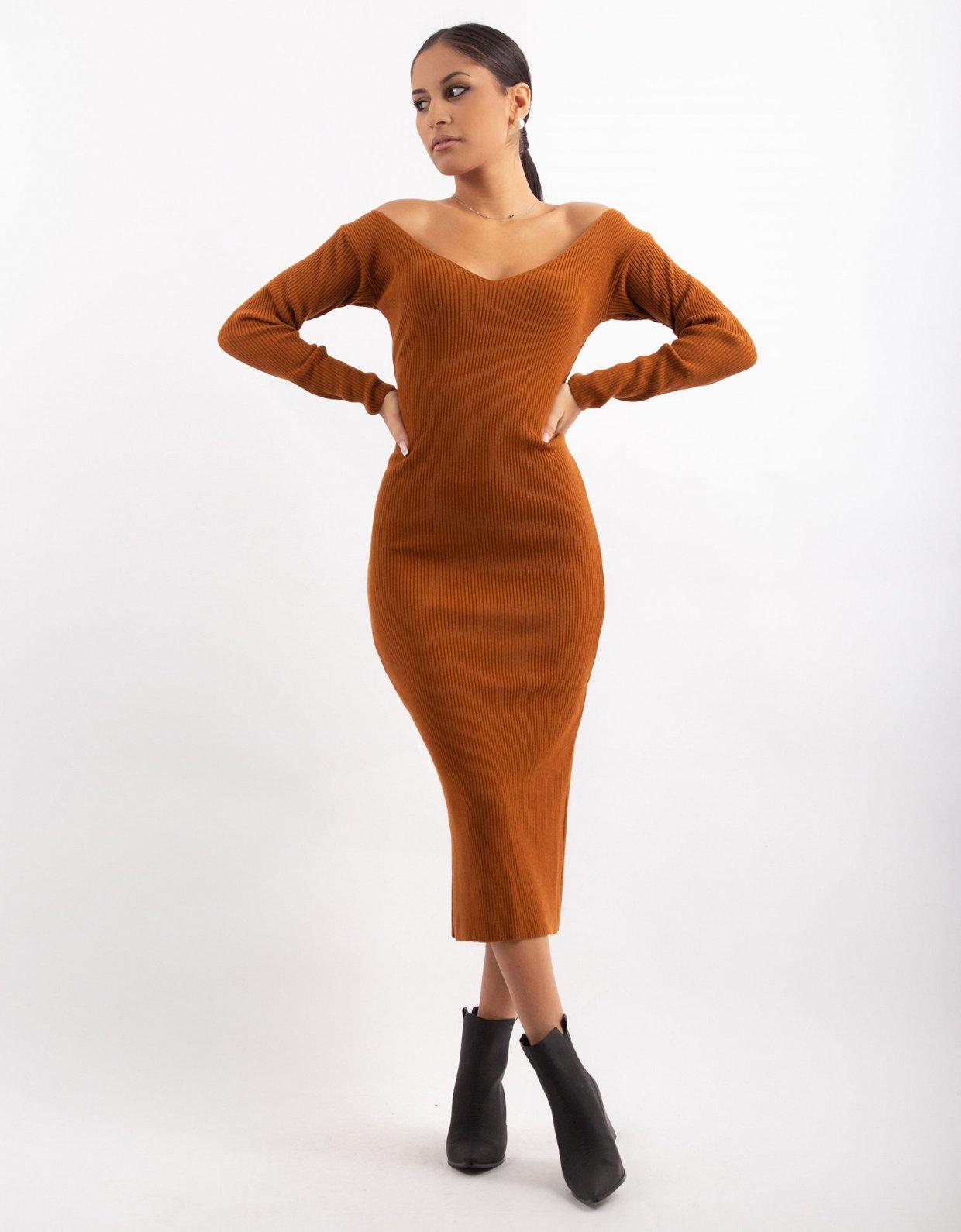 Combos Knitwear Combos W7 – Cinnamon V-neck midi dress