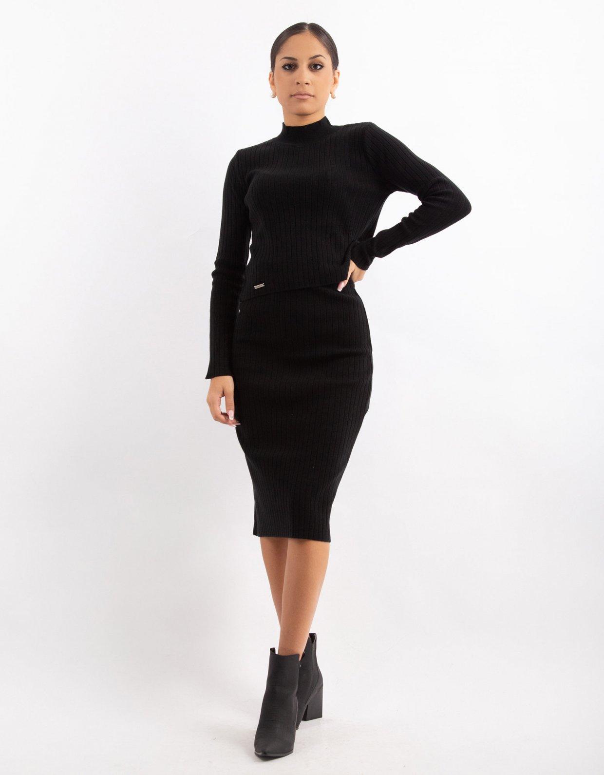 Combos Knitwear Combos W16 – Black rib midi skirt