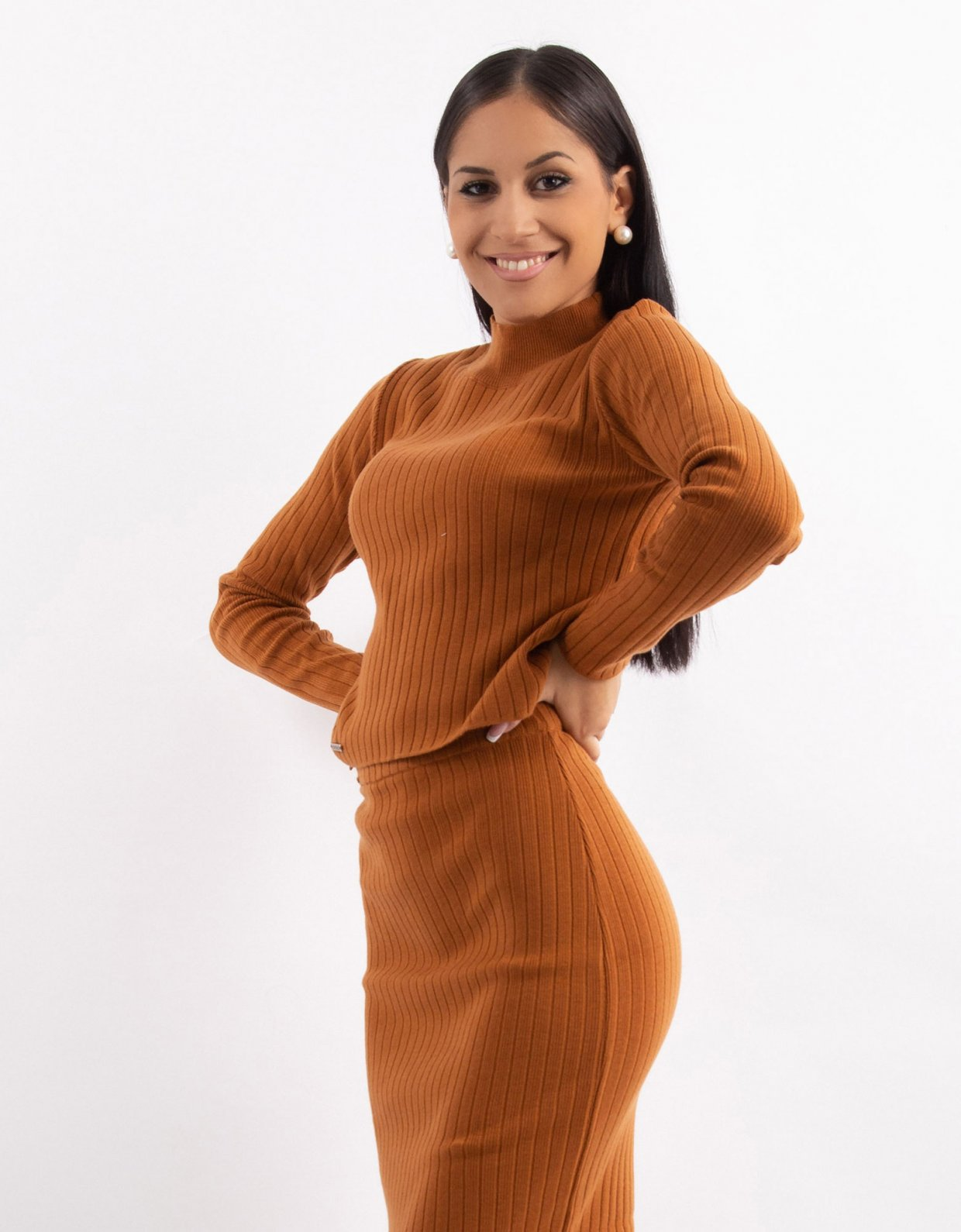 Combos Knitwear Combos W15 – Cinnamon rib turtleneck top
