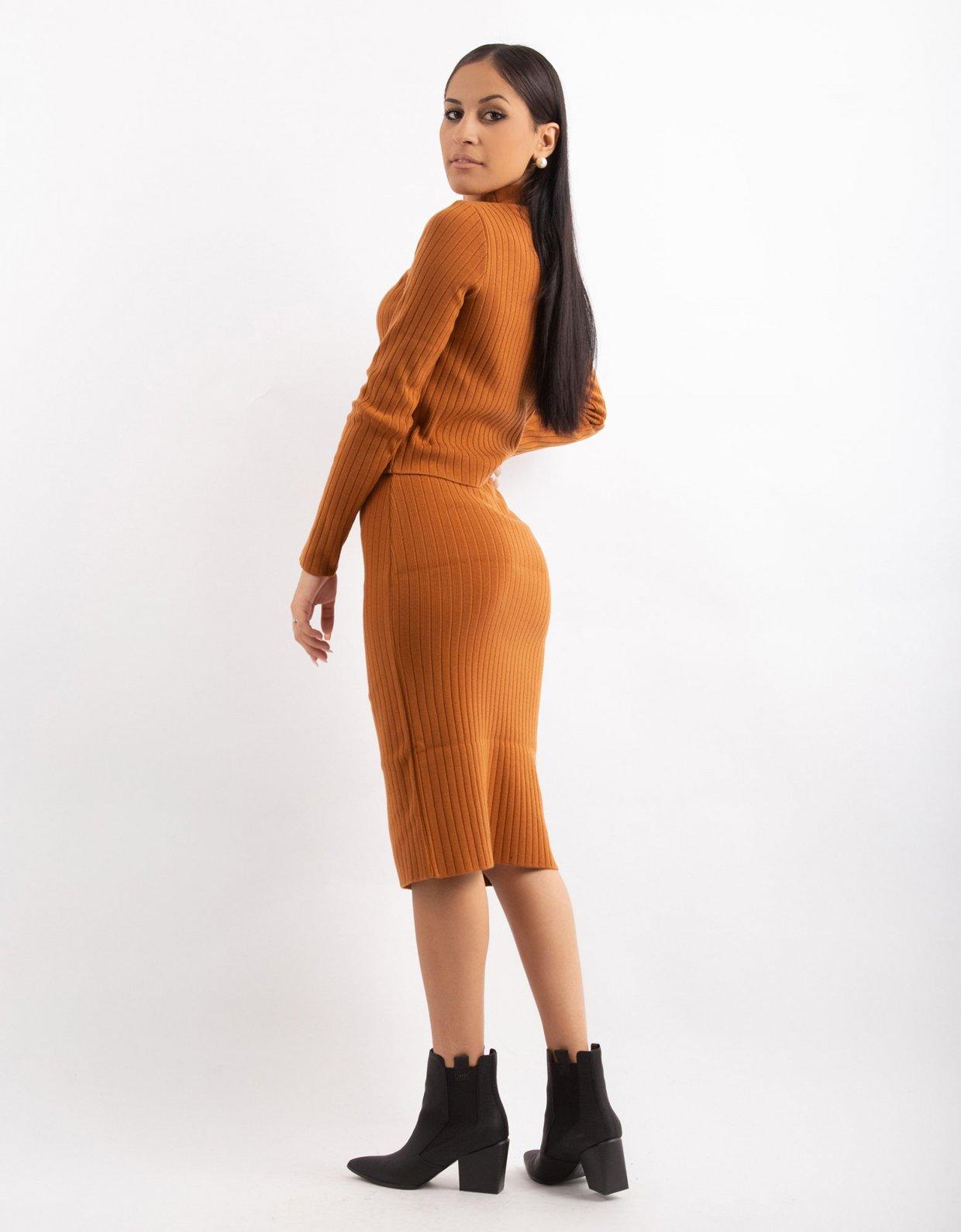 Combos Knitwear Combos W16 – Cinnamon rib midi skirt
