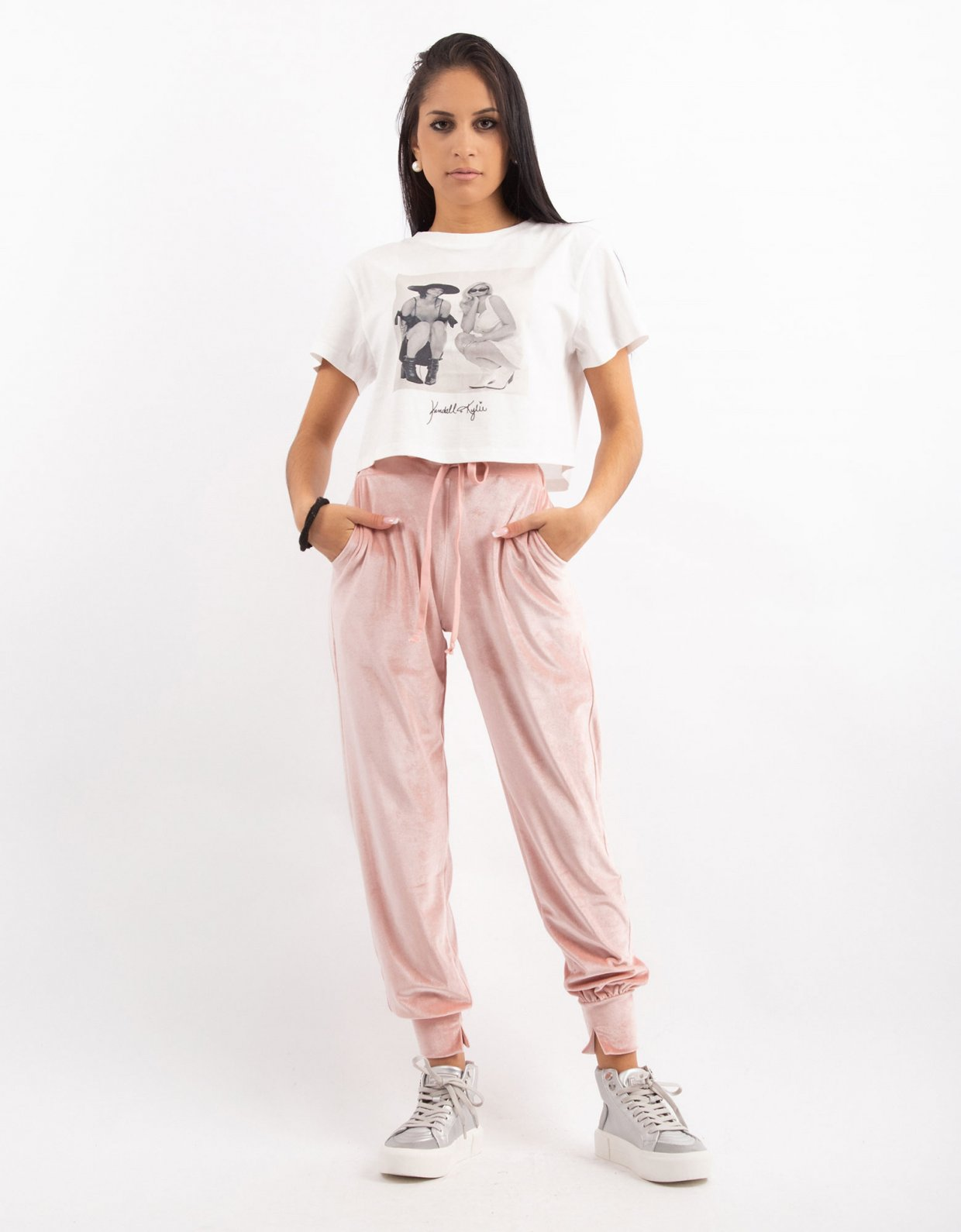 Kendall + Kylie Pink velvet jogger pants