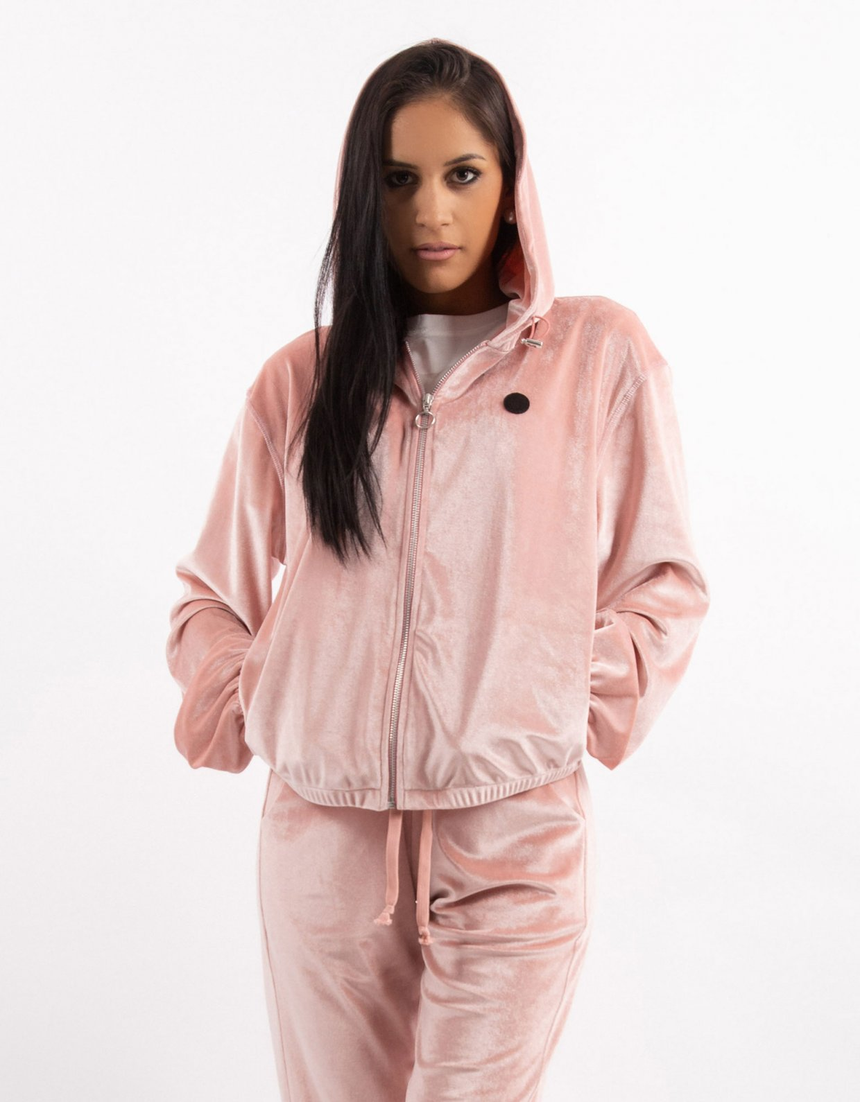 Kendall + Kylie Pink velvet zipper hoody