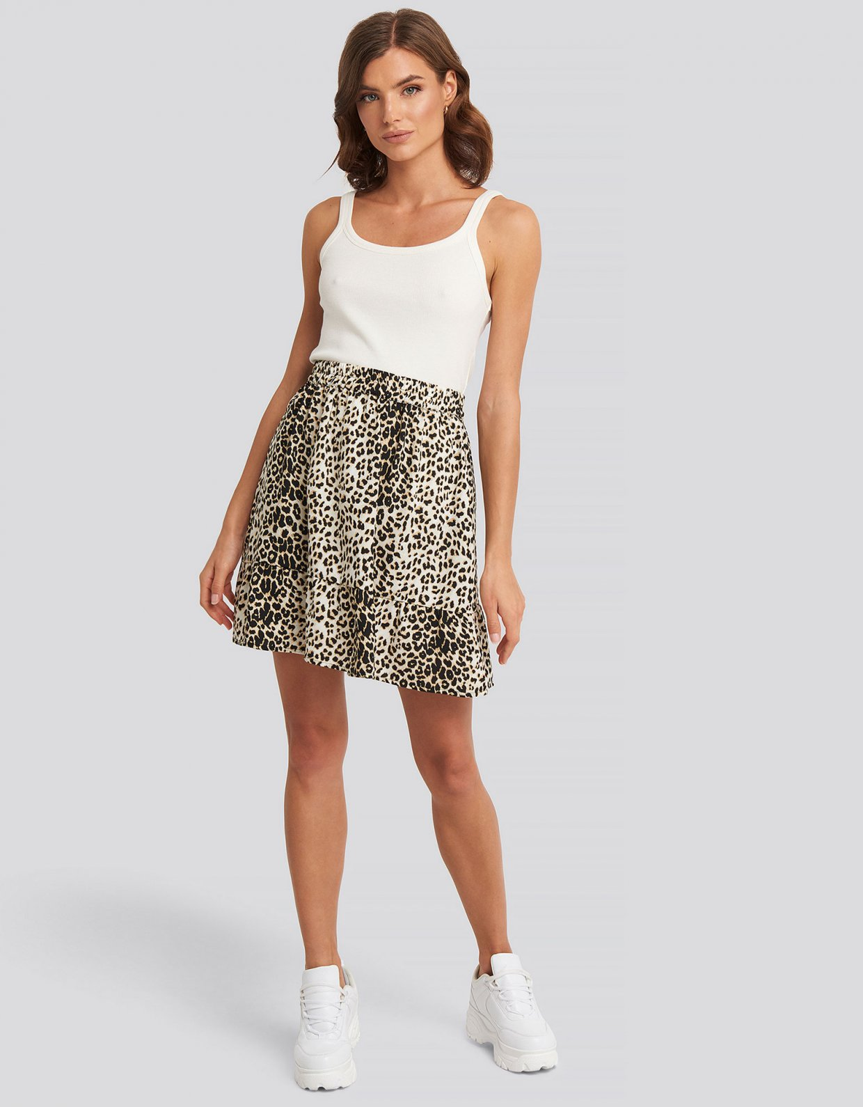 NA-KD Leopard flowy mini skirt