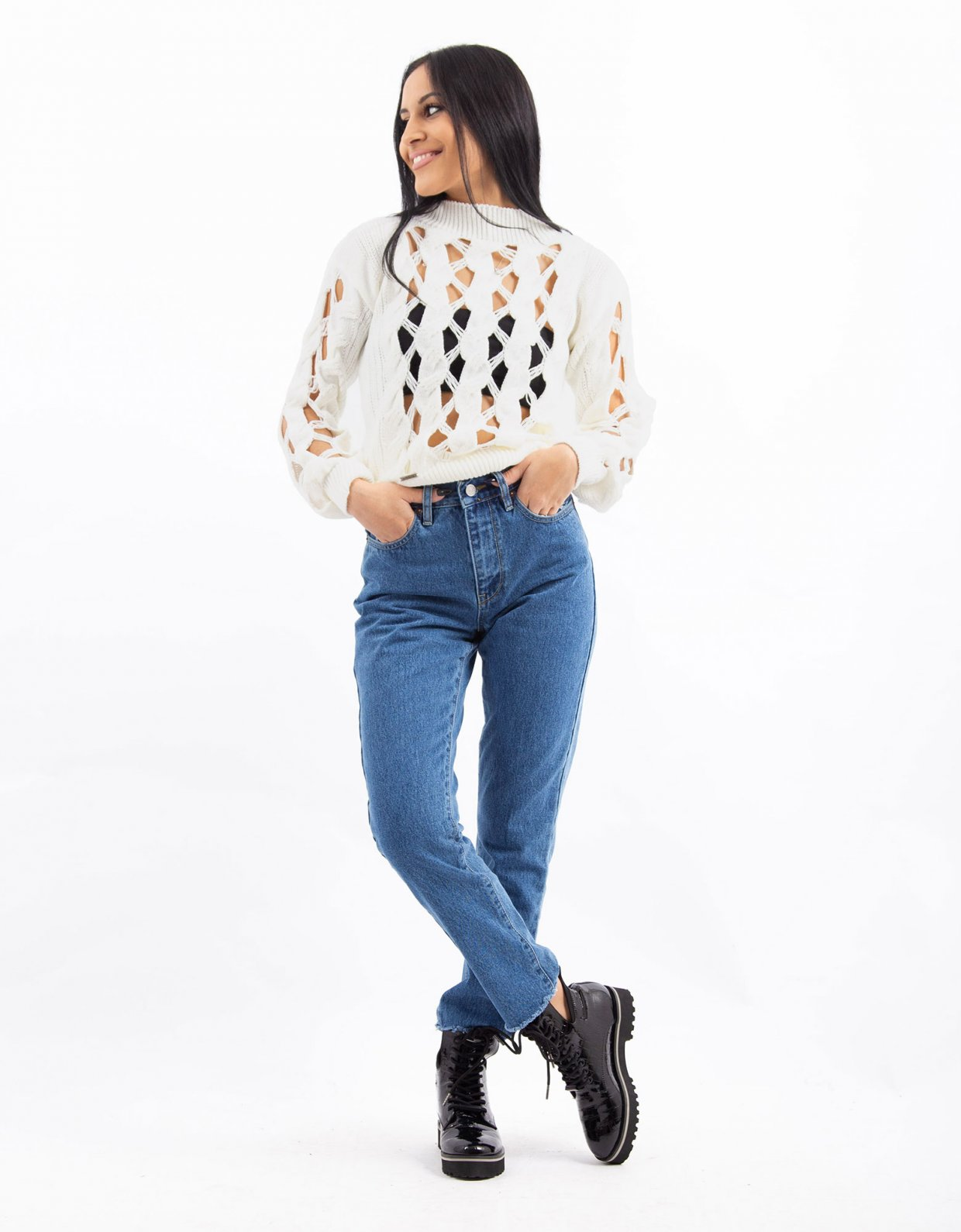 Combos Knitwear Combos W52 – White flot sweater