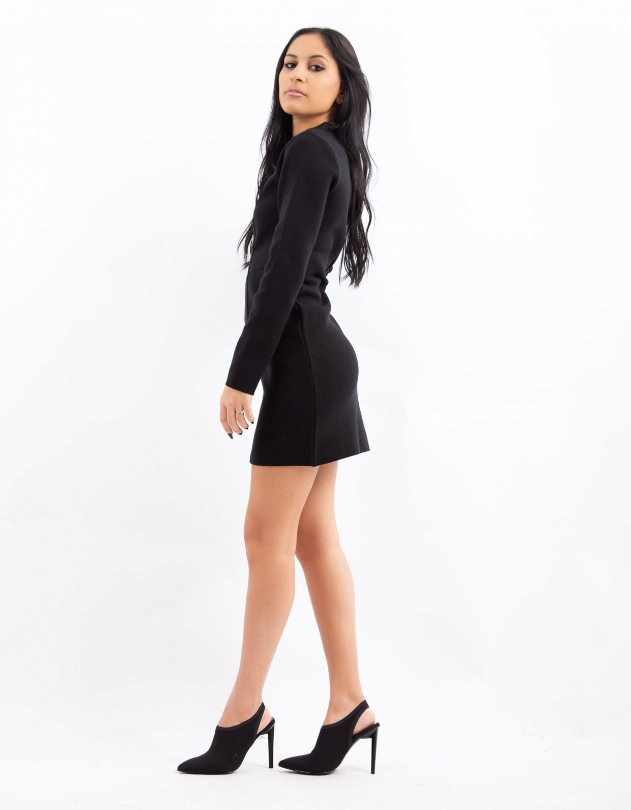 Combos Knitwear Combos W22 – Black zippered dress