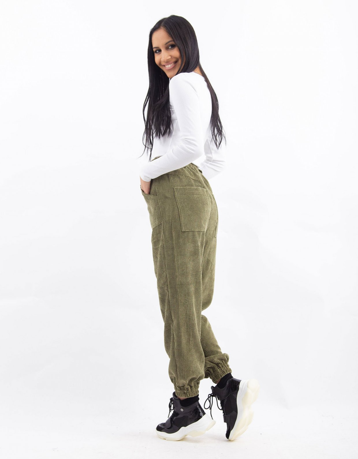 Kendall + Kylie Green corduroy jogger pants