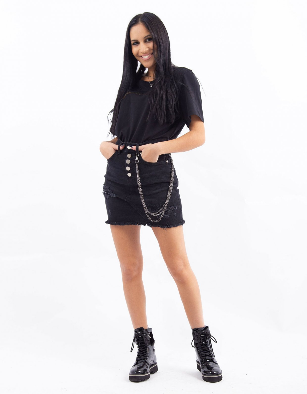 Kendall + Kylie Black denim chain skirt