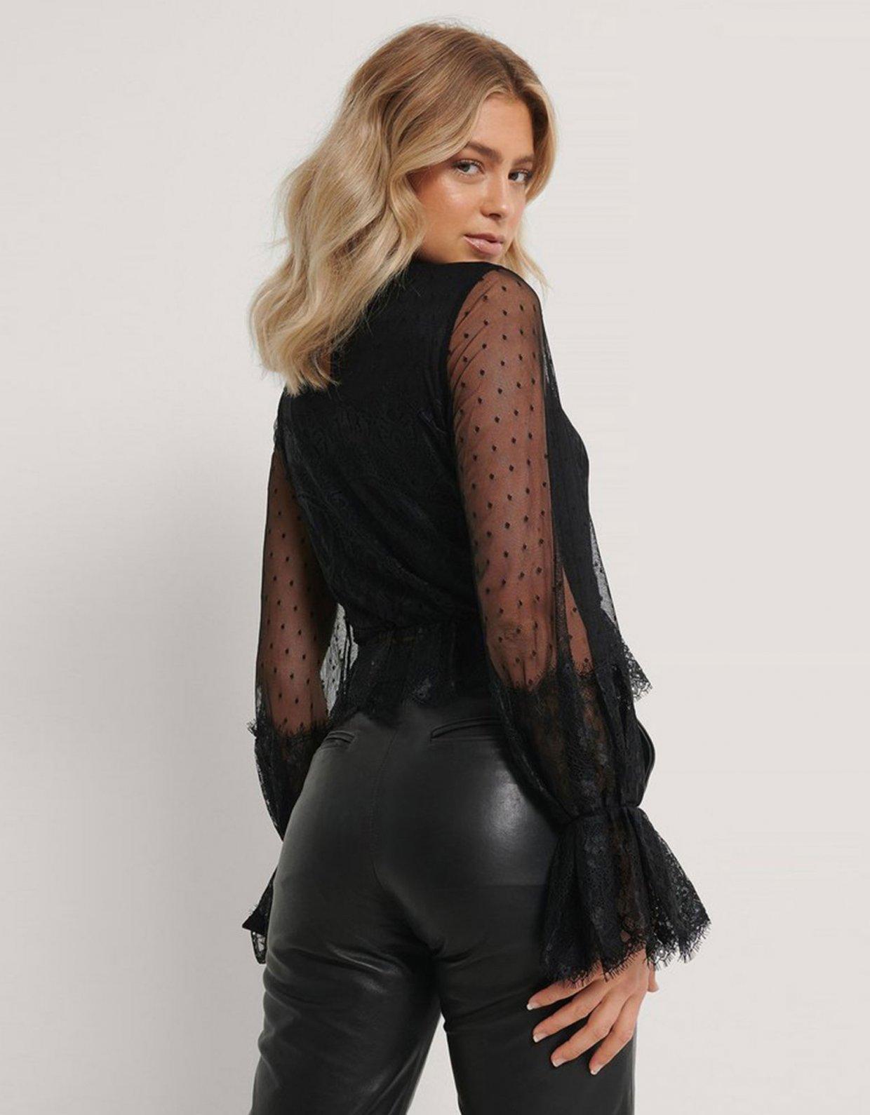 NA-KD Black frill lace top