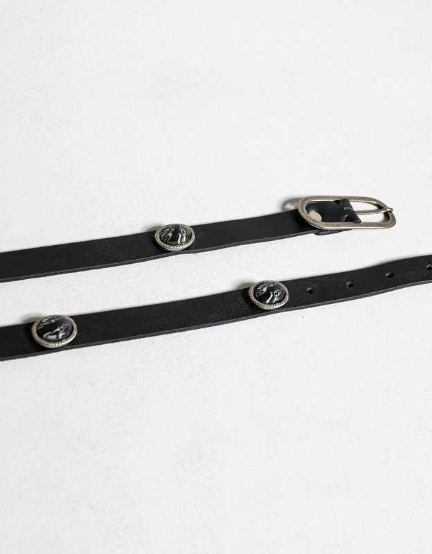 Individual Art Leather Ocean of night belt