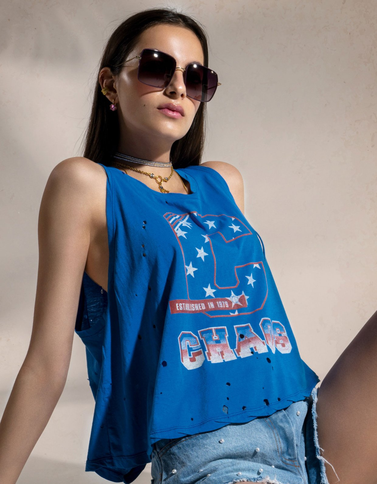 Peace & Chaos C for chaos tank top