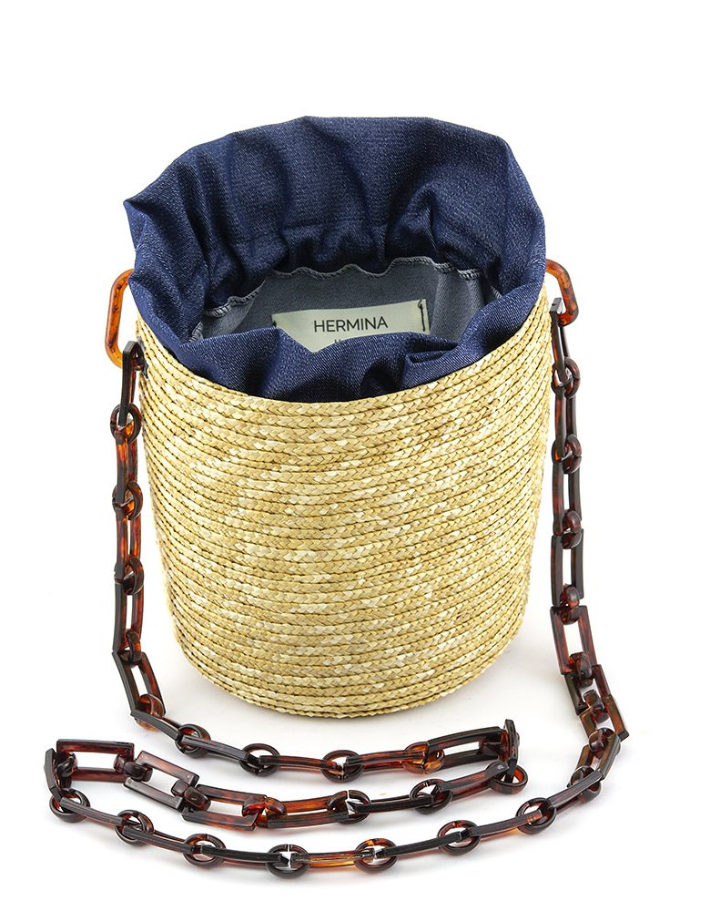 Hermina Raffia shoulder bag - Denim pouch & tortoise handle