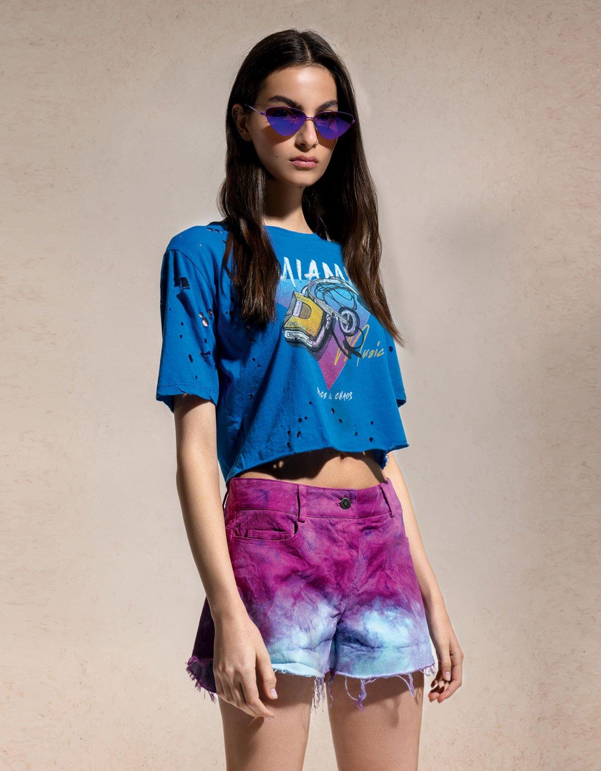 Peace & Chaos Tie dye denim shorts