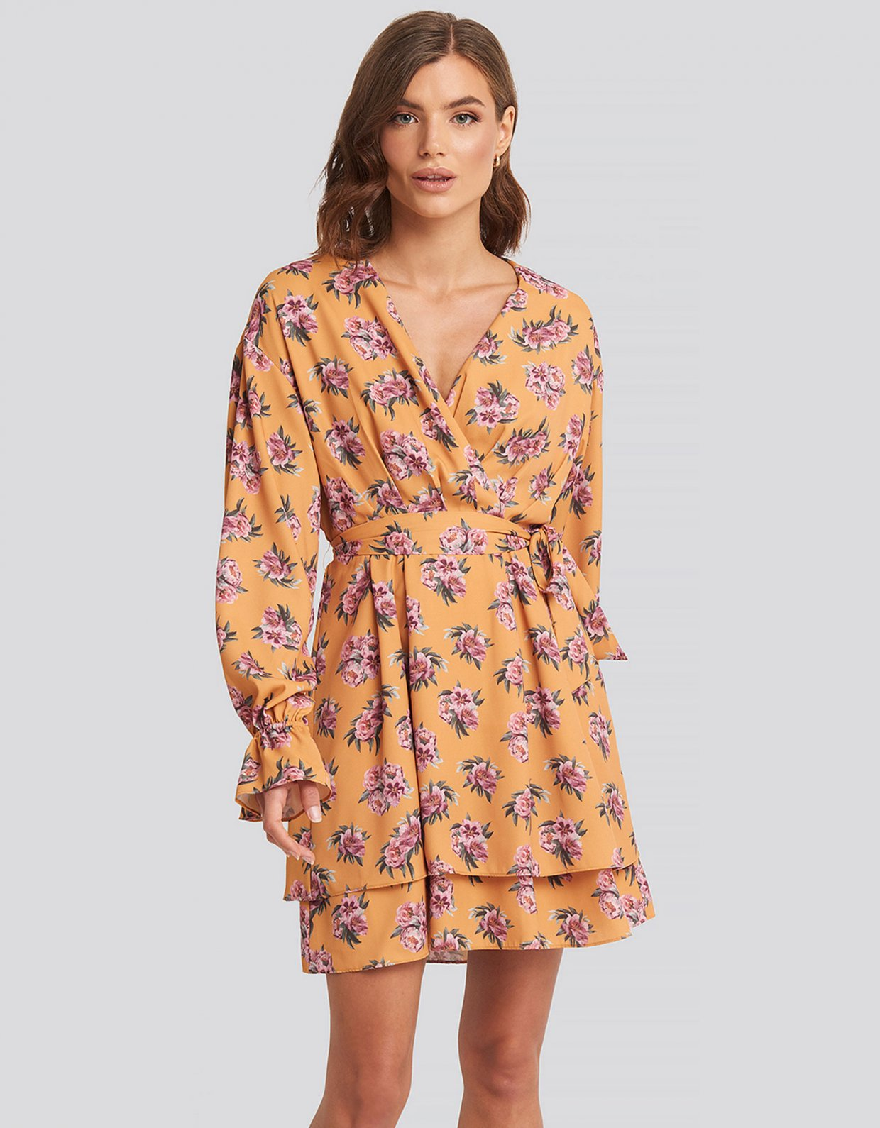 NA-KD Yellow floral mini dress