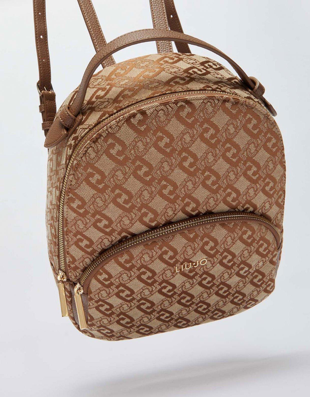 Liu Jo Backpack with jacquard logo brown