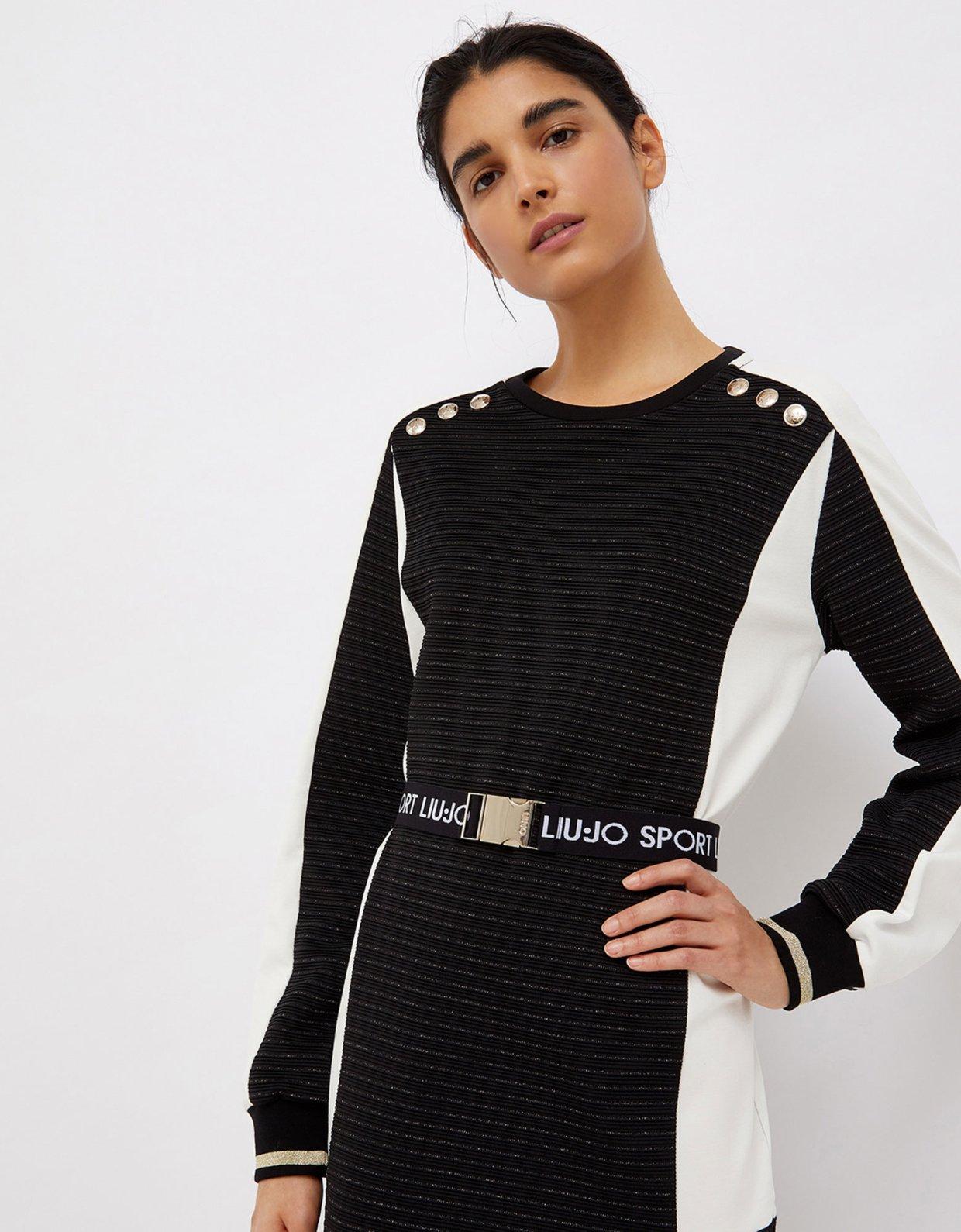 Liu Jo Short dress with logoed belt nero/snow white
