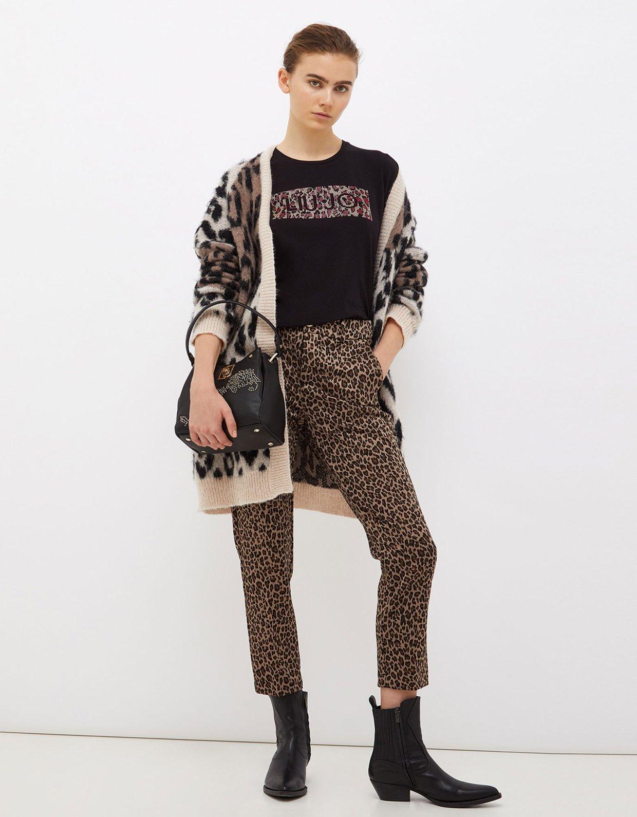 Liu Jo T-shirt with logo and appliqués black leopard
