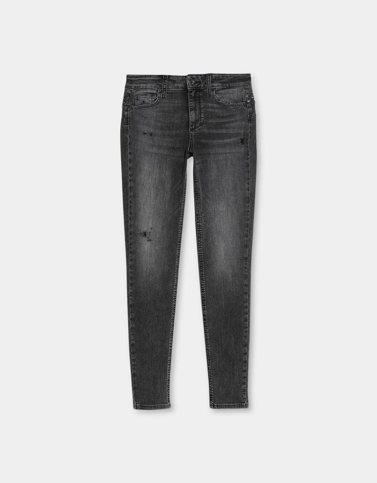 Liu Jo Skinny jeans with jewel appliqués grey