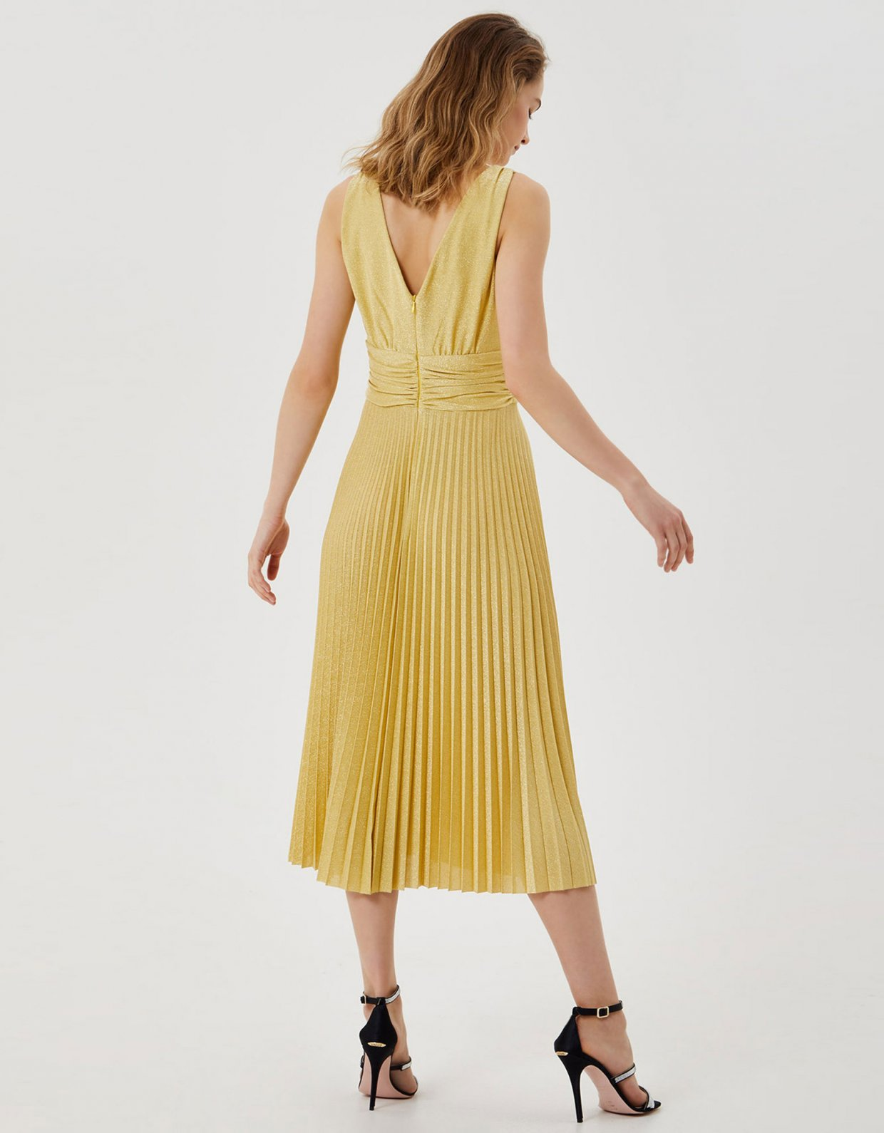 Liu Jo Pleated midi dress yellow