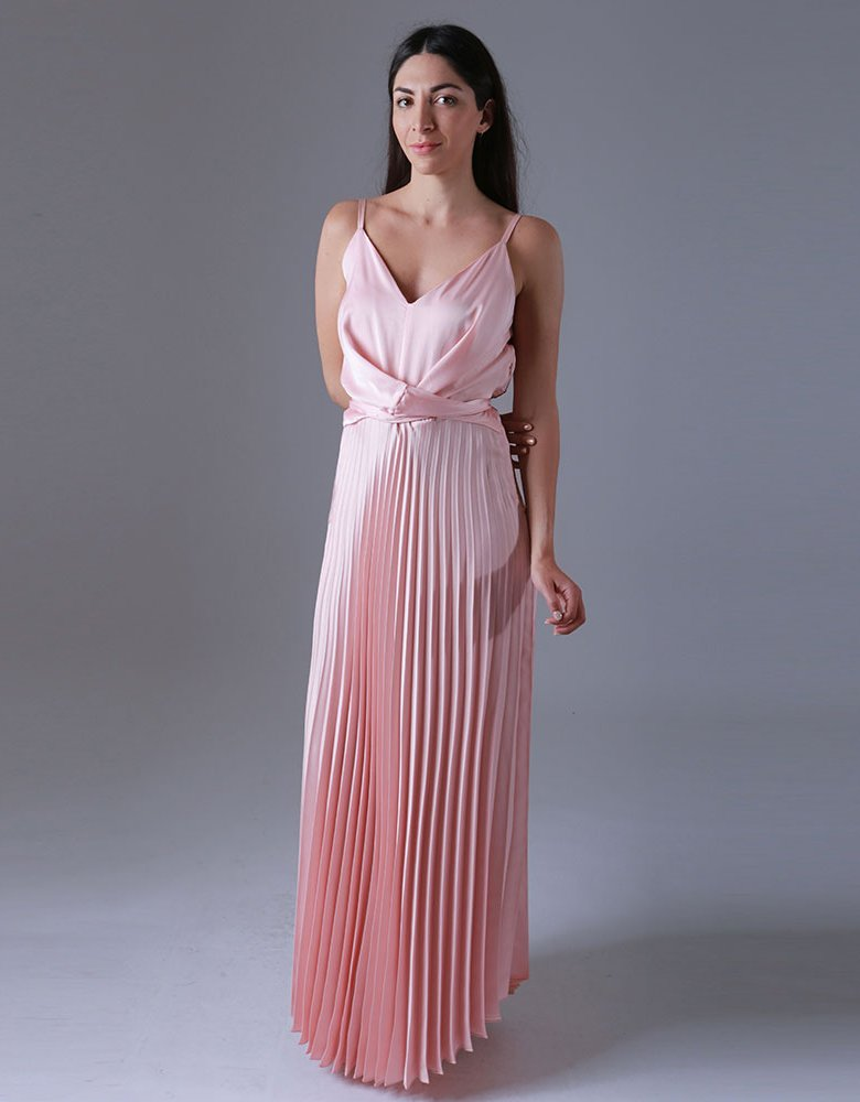 Milk White Pink pleated dress
