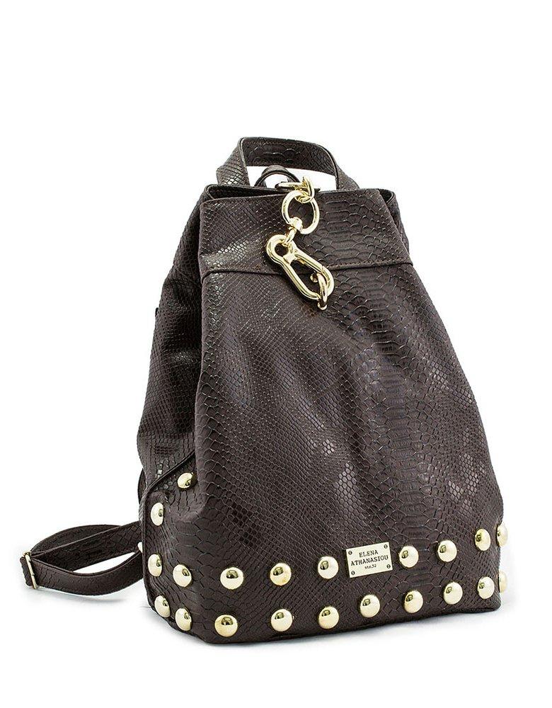 Elena Athanasiou Backpack brown snake bag
