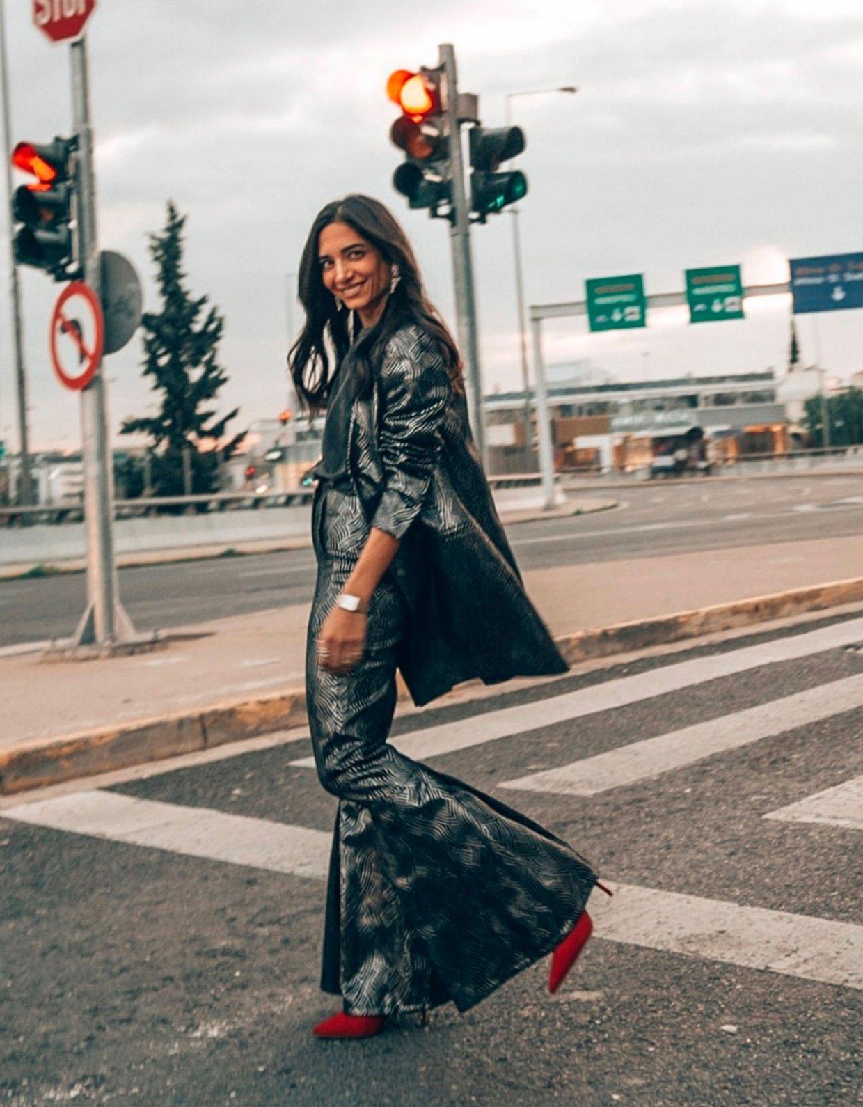 Nadia Rapti Rolling Stones lurex pants