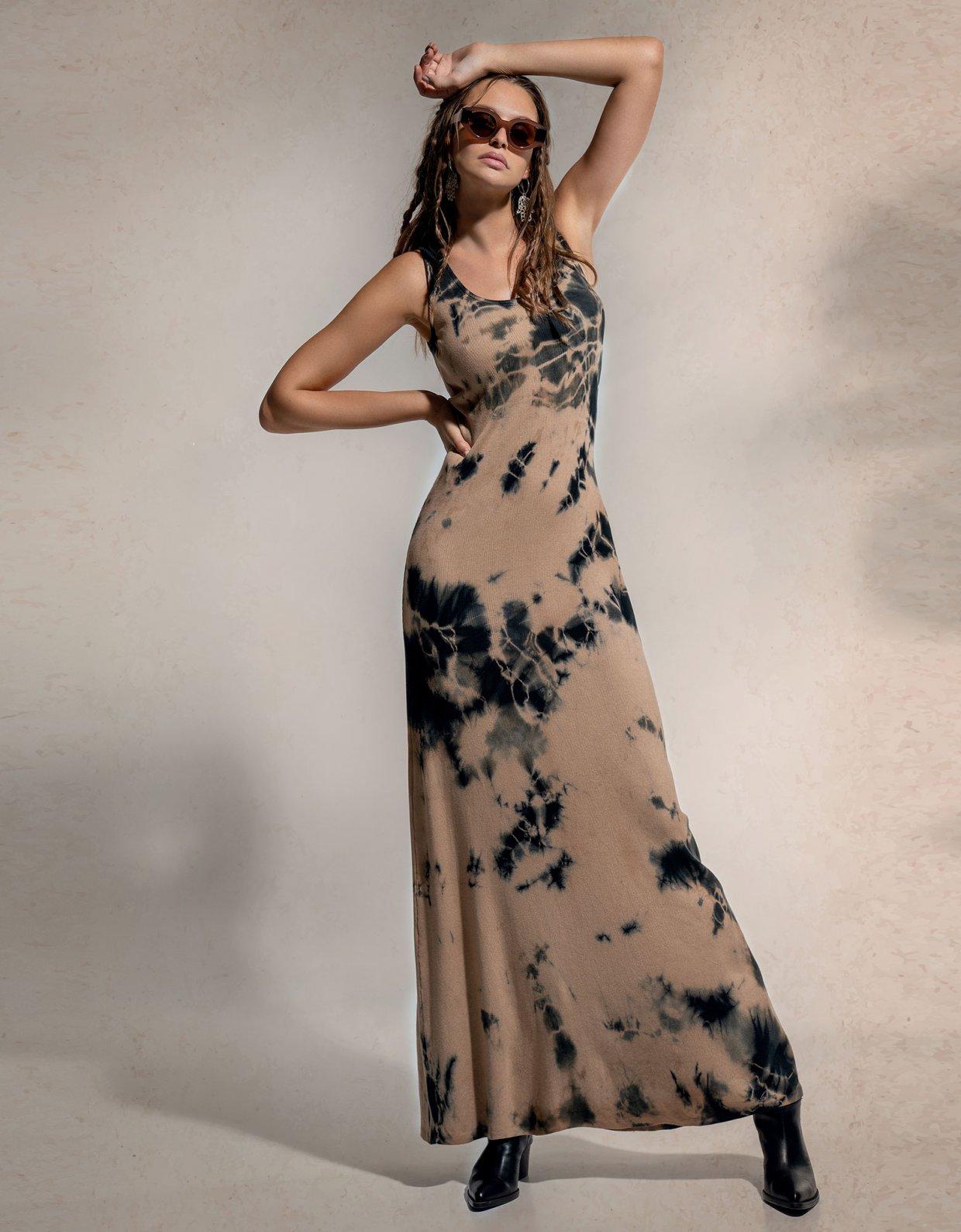 Peace & Chaos Mother earth tie dye rib cotton dress