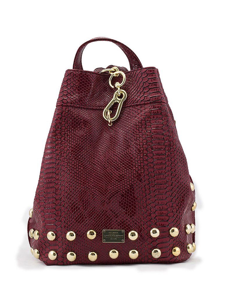 Elena Athanasiou Backpack burgundy snake bag